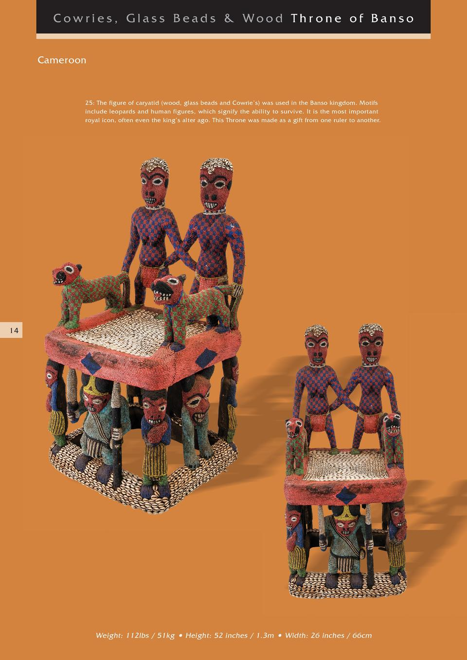 Cowries, Glass Beads   Wood Thr one of Banso Cameroon  25  The figure of caryatid  wood, glass beads and Cowrie   s  was u...