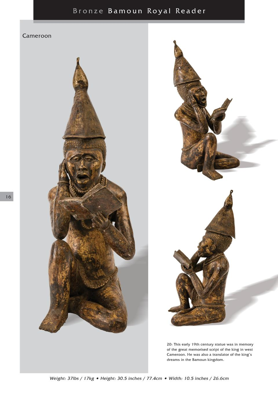Bronze Bamoun Royal Reader Cameroon  16  20  This early 19th century statue was in memory of the great memorised script of...