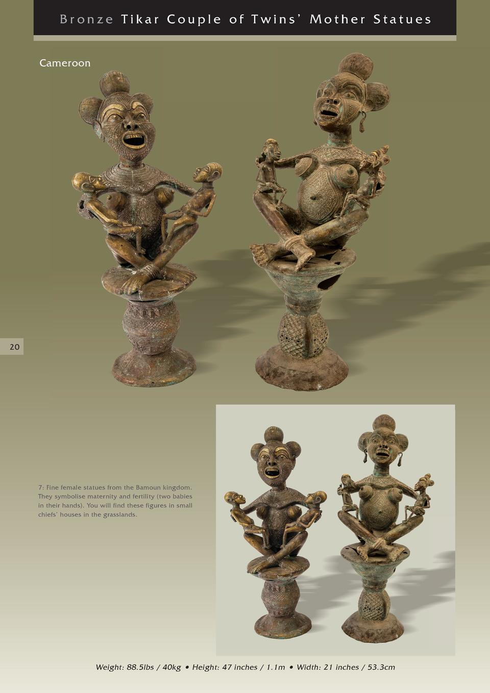 Bronze Tikar Couple of Twins    Mother Statues Cameroon  20  7  Fine female statues from the Bamoun kingdom. They symbolis...