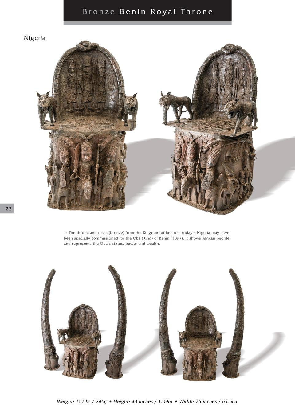 Bronze Benin Royal Throne Nigeria  22  1  The throne and tusks  bronze  from the Kingdom of Benin in today   s Nigeria may...