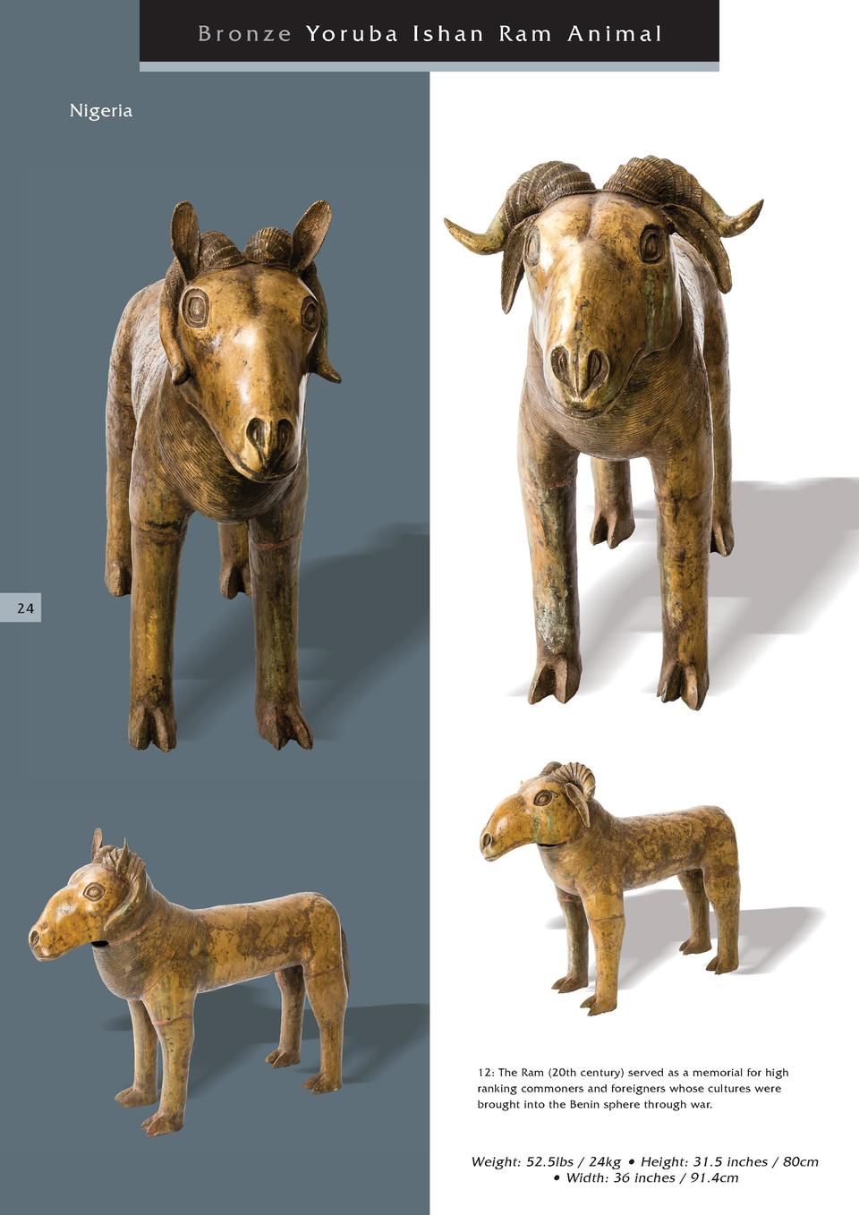 Br onze Yoruba Ishan Ram Animal Nigeria  24  12  The Ram  20th century  served as a memorial for high ranking commoners an...