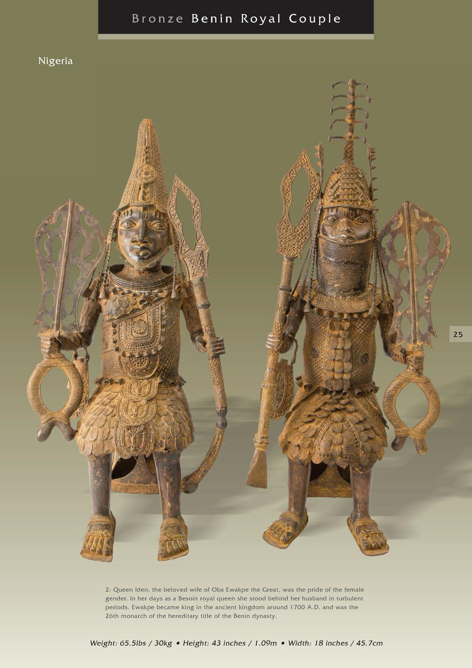Bronze Benin Royal Couple Nigeria  25  2  Queen Iden, the beloved wife of Oba Ewakpe the Great, was the pride of the femal...