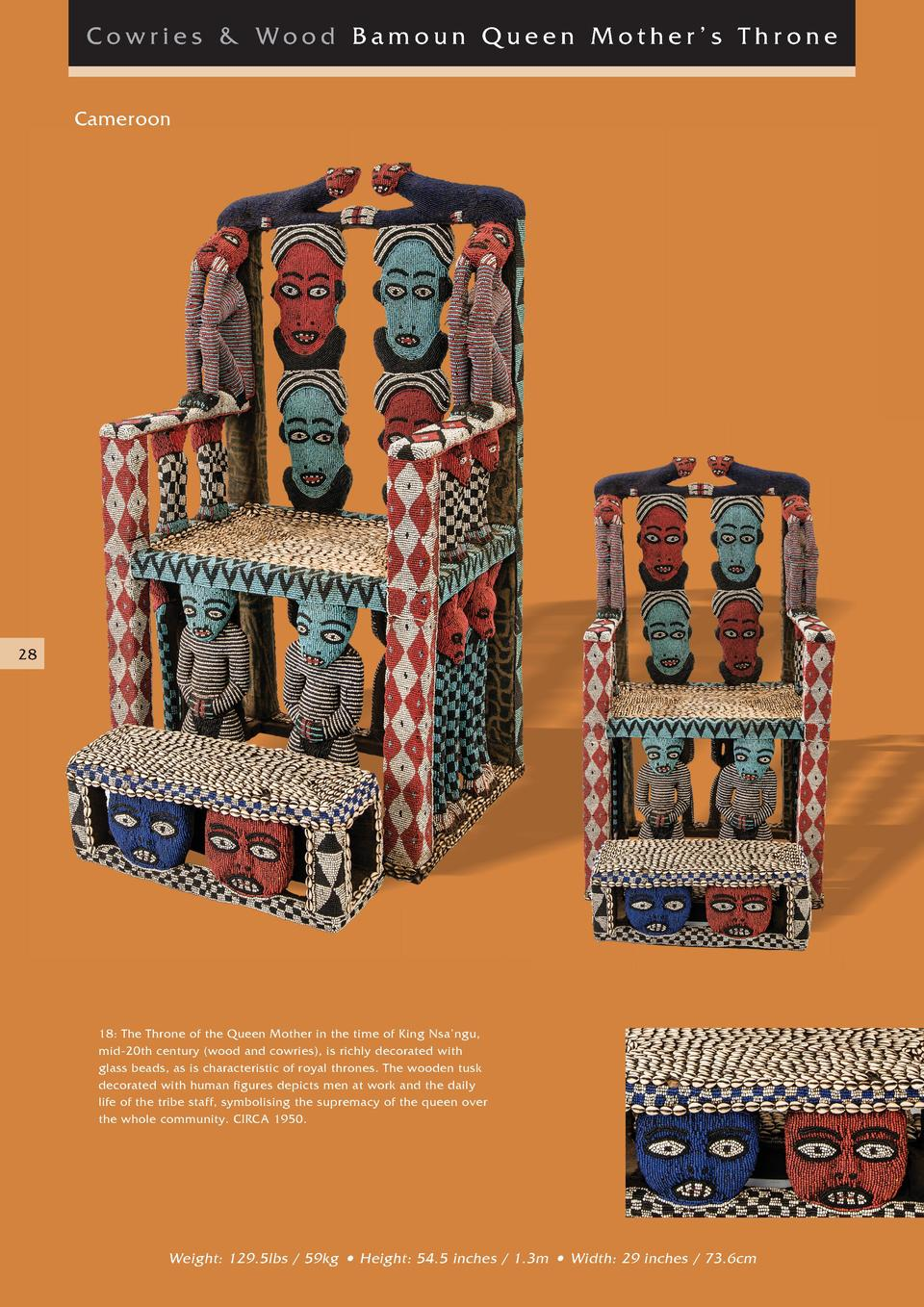 Cowries   Wood Bamoun Queen Mother   s Thr one Cameroon  28  18  The Throne of the Queen Mother in the time of King Nsa   ...