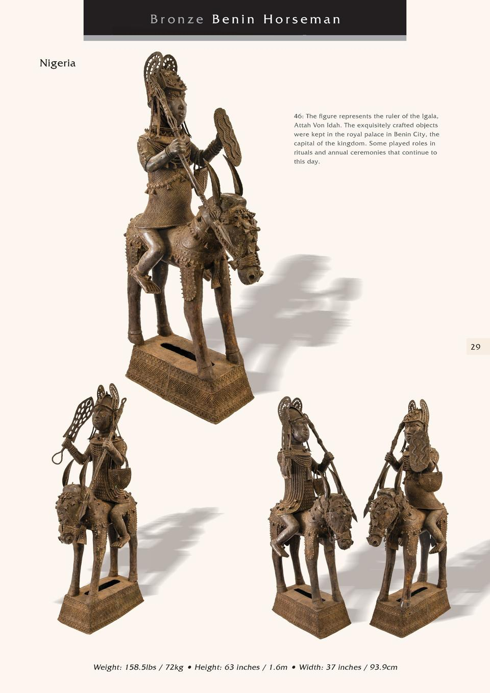 Bronze Benin Horseman Nigeria  46  The figure represents the ruler of the Igala, Attah Von Idah. The exquisitely crafted o...