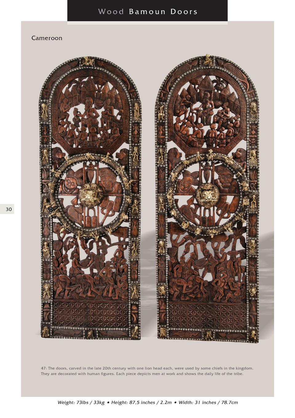Wood Bamoun Doors Cameroon  30  47  The doors, carved in the late 20th century with one lion head each, were used by some ...