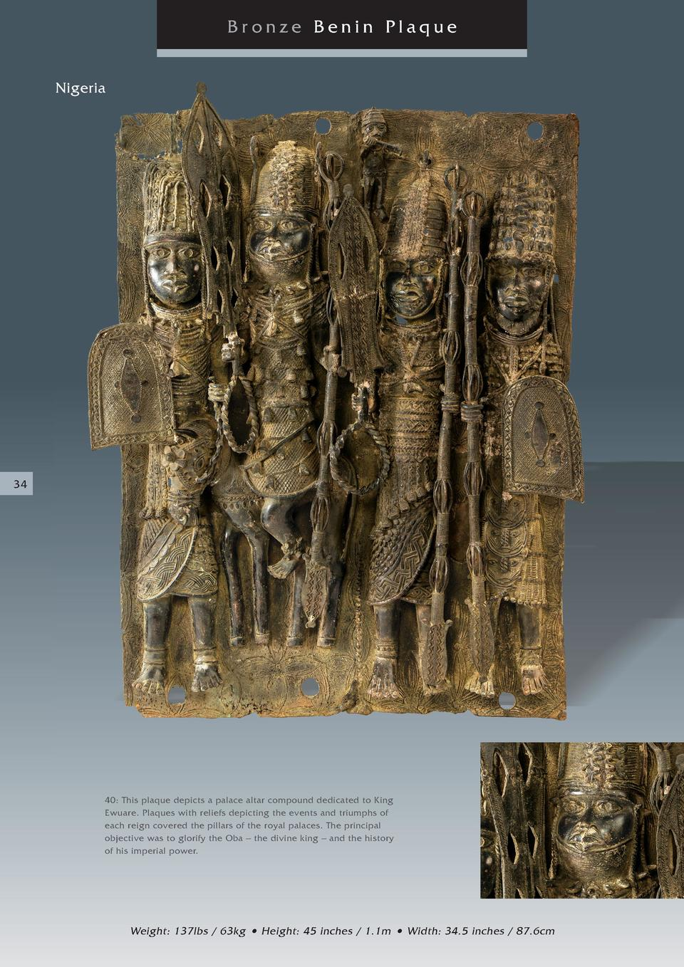 Bronze Benin Plaque Nigeria  34  40  This plaque depicts a palace altar compound dedicated to King Ewuare. Plaques with re...
