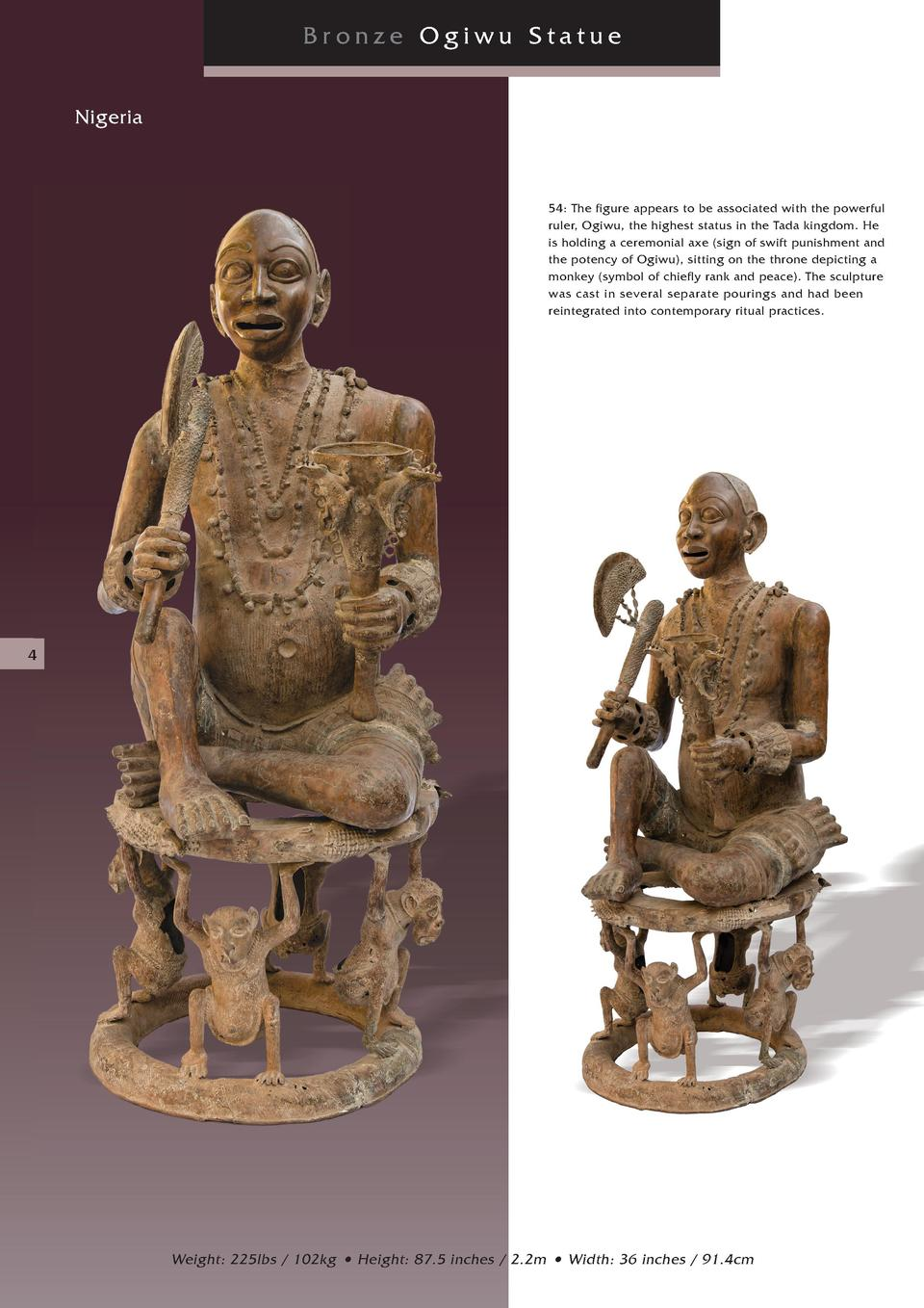 Bronze Ogiwu Statue Nigeria  54  The figure appears to be associated with the powerful ruler, Ogiwu, the highest status in...
