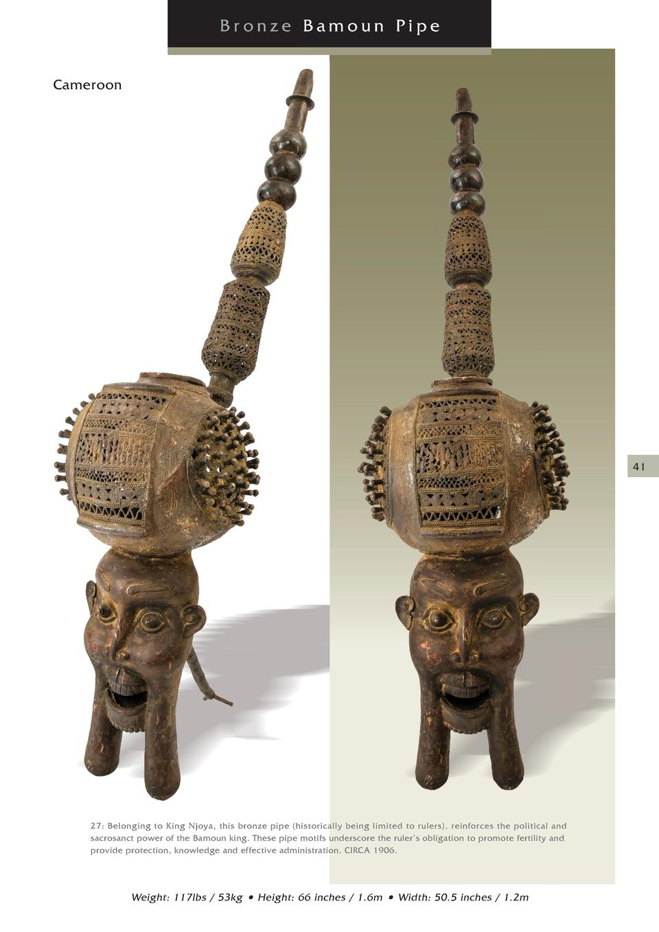 Bronze Bamoun Pipe Cameroon Cameroon  41  27  Belonging to King Njoya, this bronze pipe  historically being limited to rul...