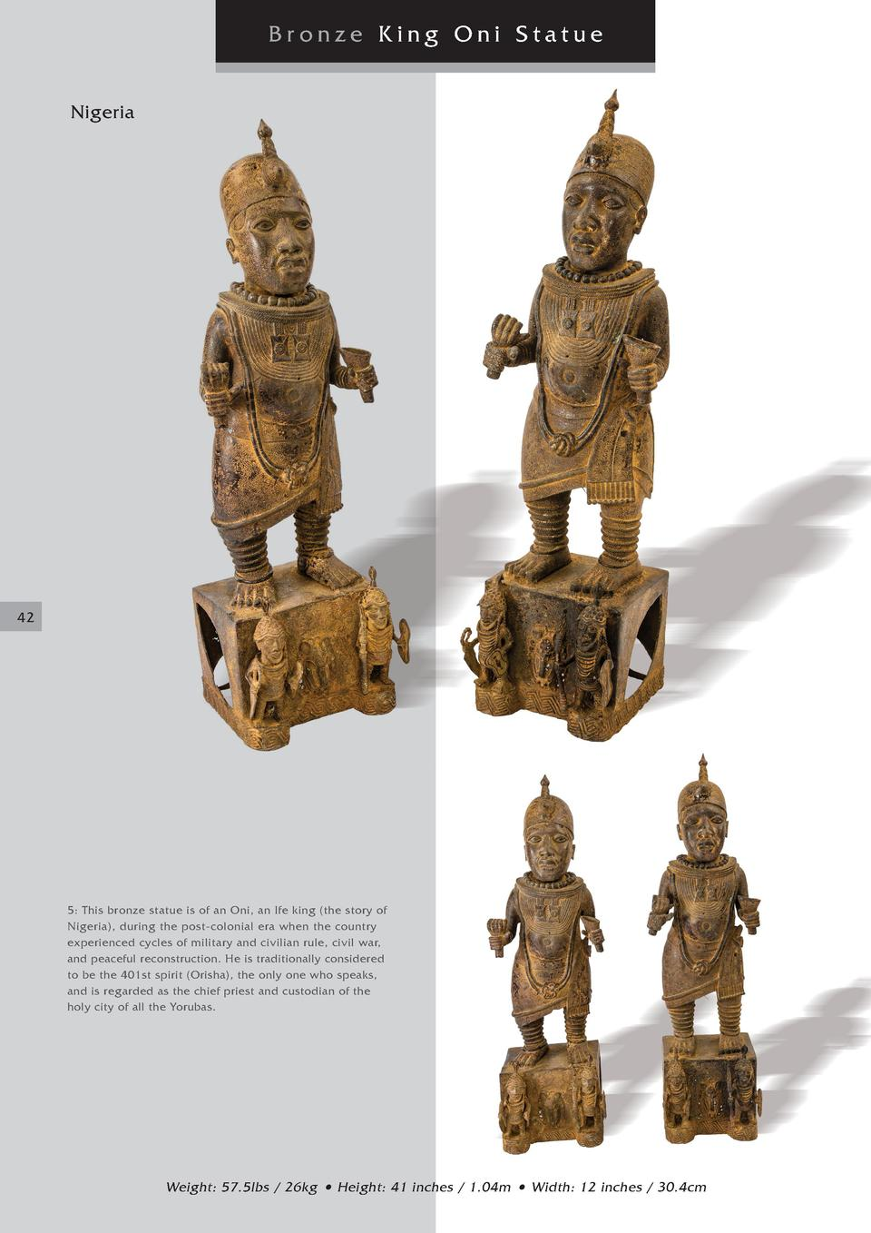 Bronze King Oni Statue Nigeria  42  5  This bronze statue is of an Oni, an Ife king  the story of Nigeria , during the pos...