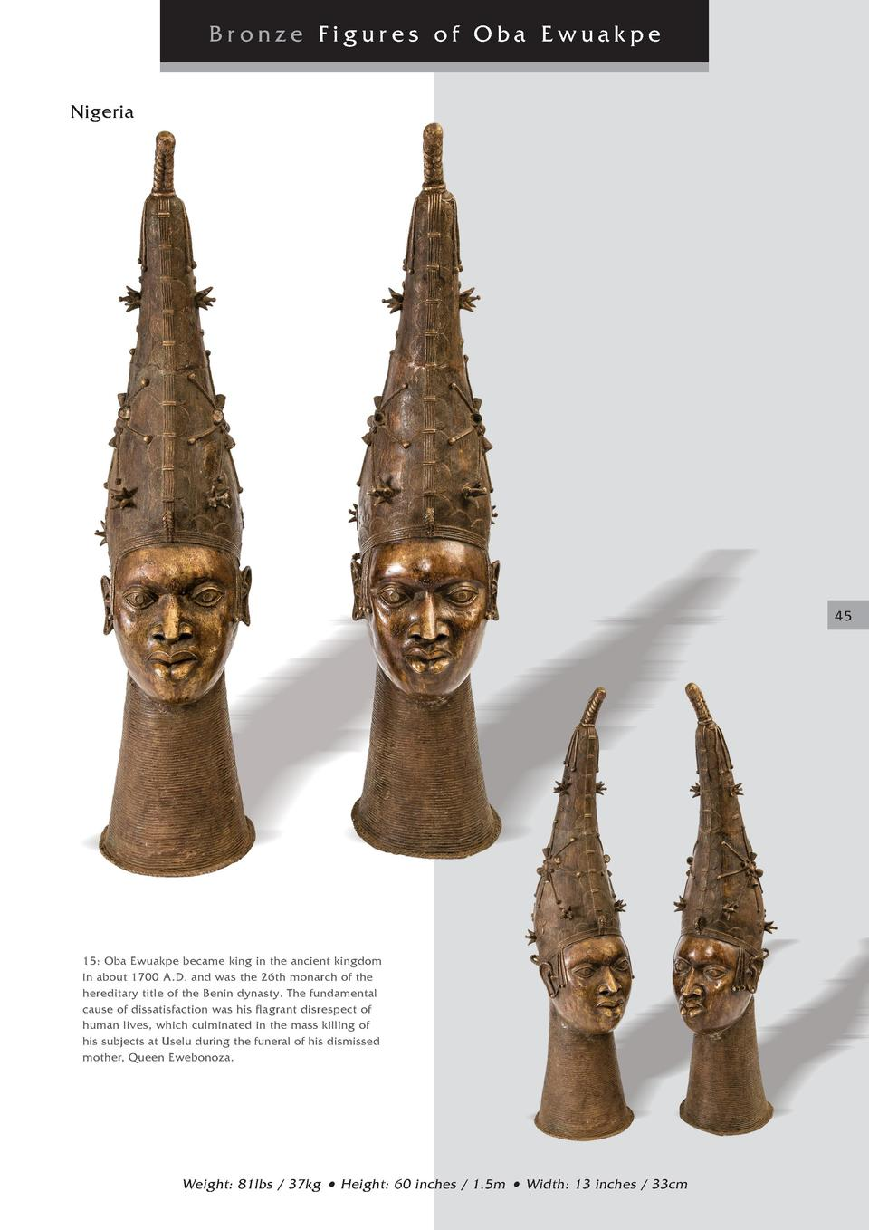 Bronze Figures of Oba Ewuakpe Nigeria  45  15  Oba Ewuakpe became king in the ancient kingdom in about 1700 A.D. and was t...