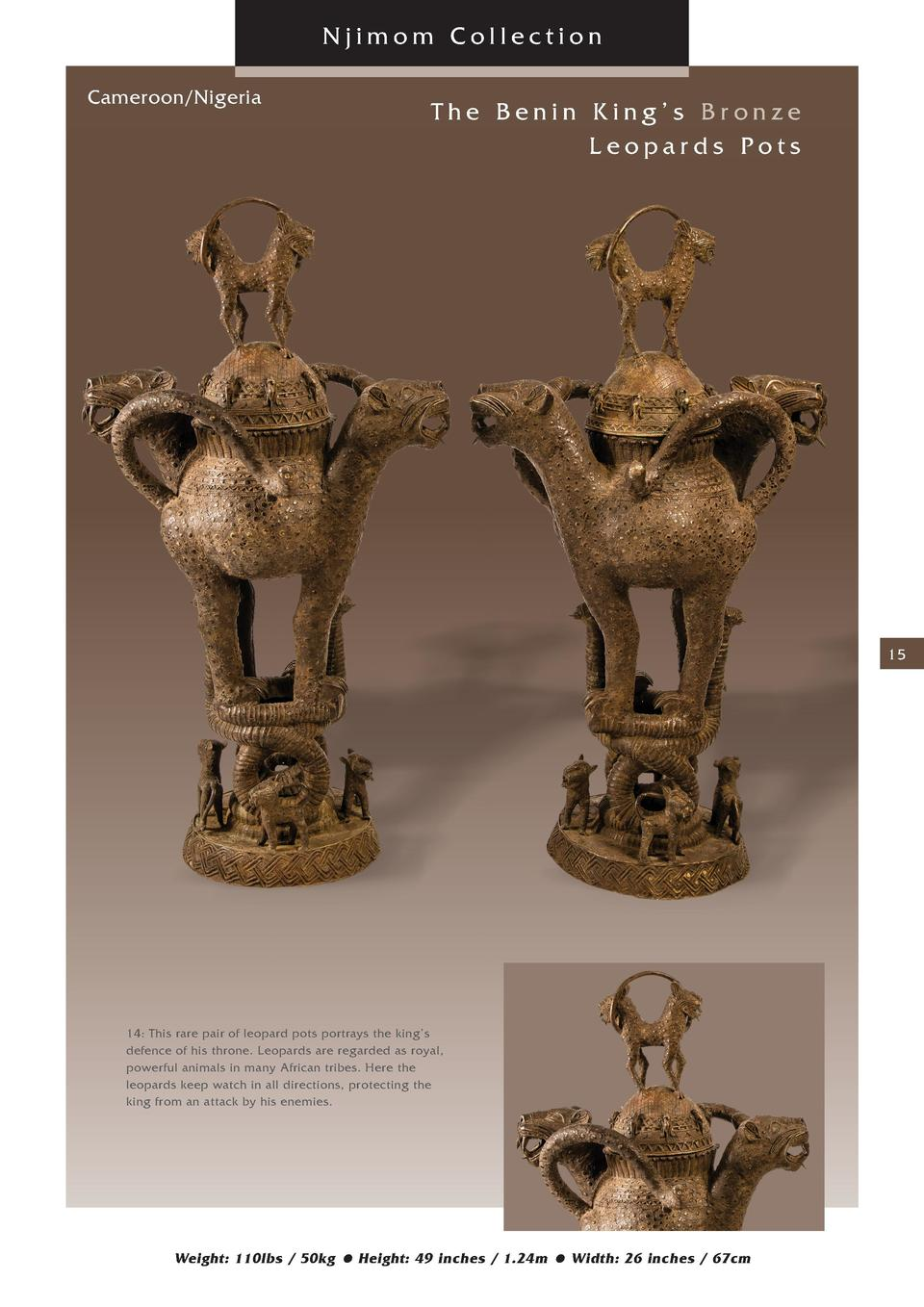 Njimom Collection Cameroon Nigeria  The Benin King   s Bronze Leopards Pots  15  14  This rare pair of leopard pots portra...