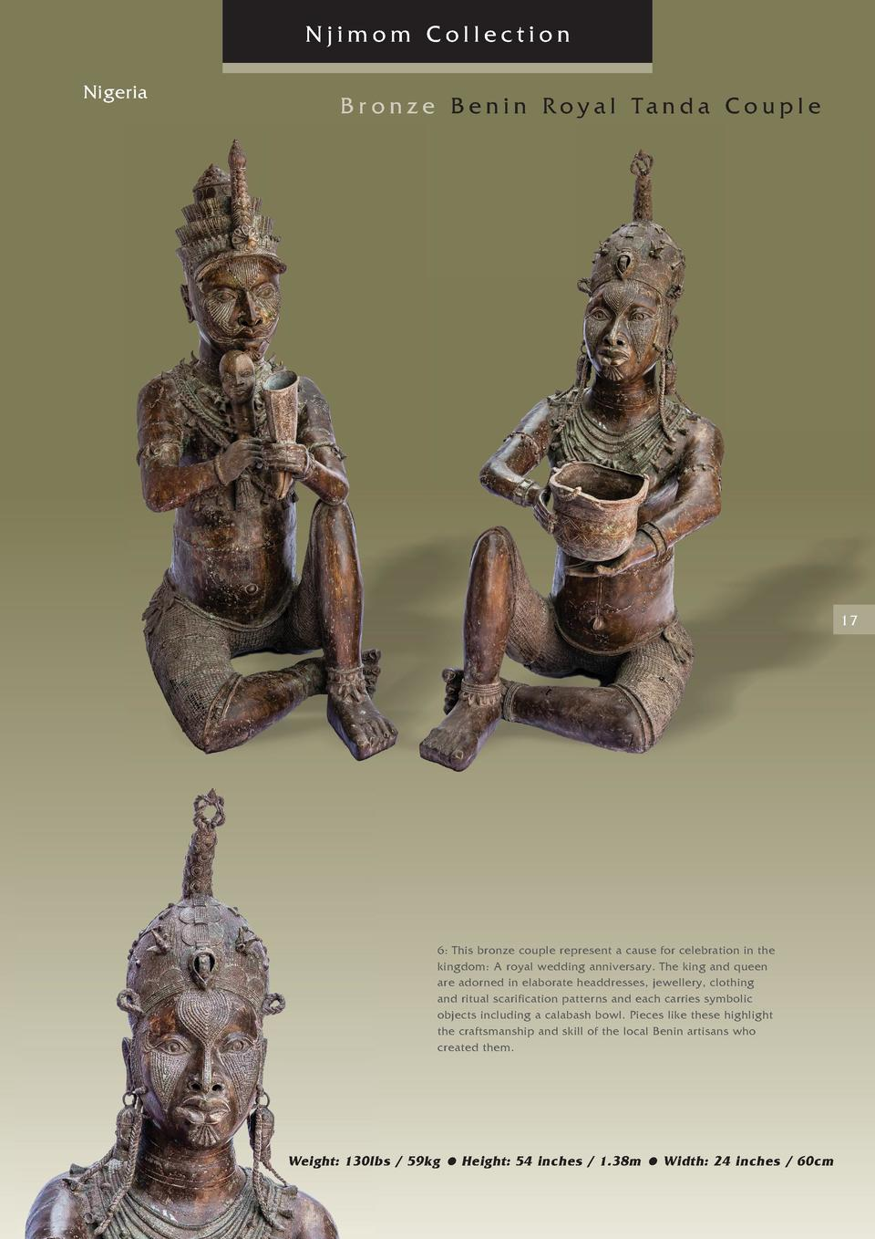 Njimom Collection Nigeria  Br onze Benin Royal Tanda Couple  17  6  This bronze couple represent a cause for celebration i...