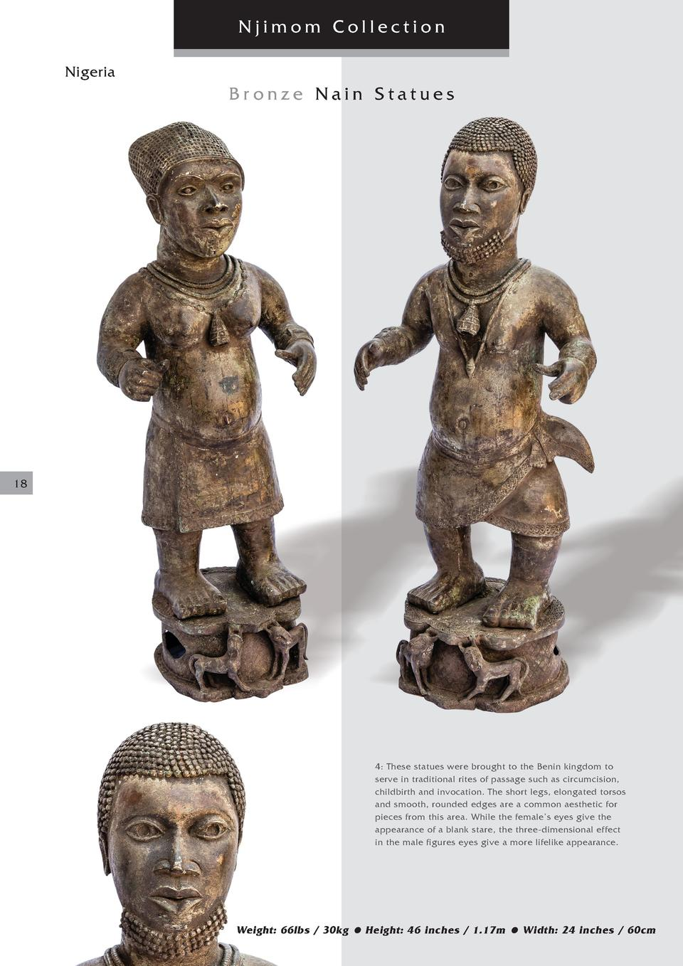 Njimom Collection Nigeria  Bronze Nain Statues  18  4  These statues were brought to the Benin kingdom to serve in traditi...