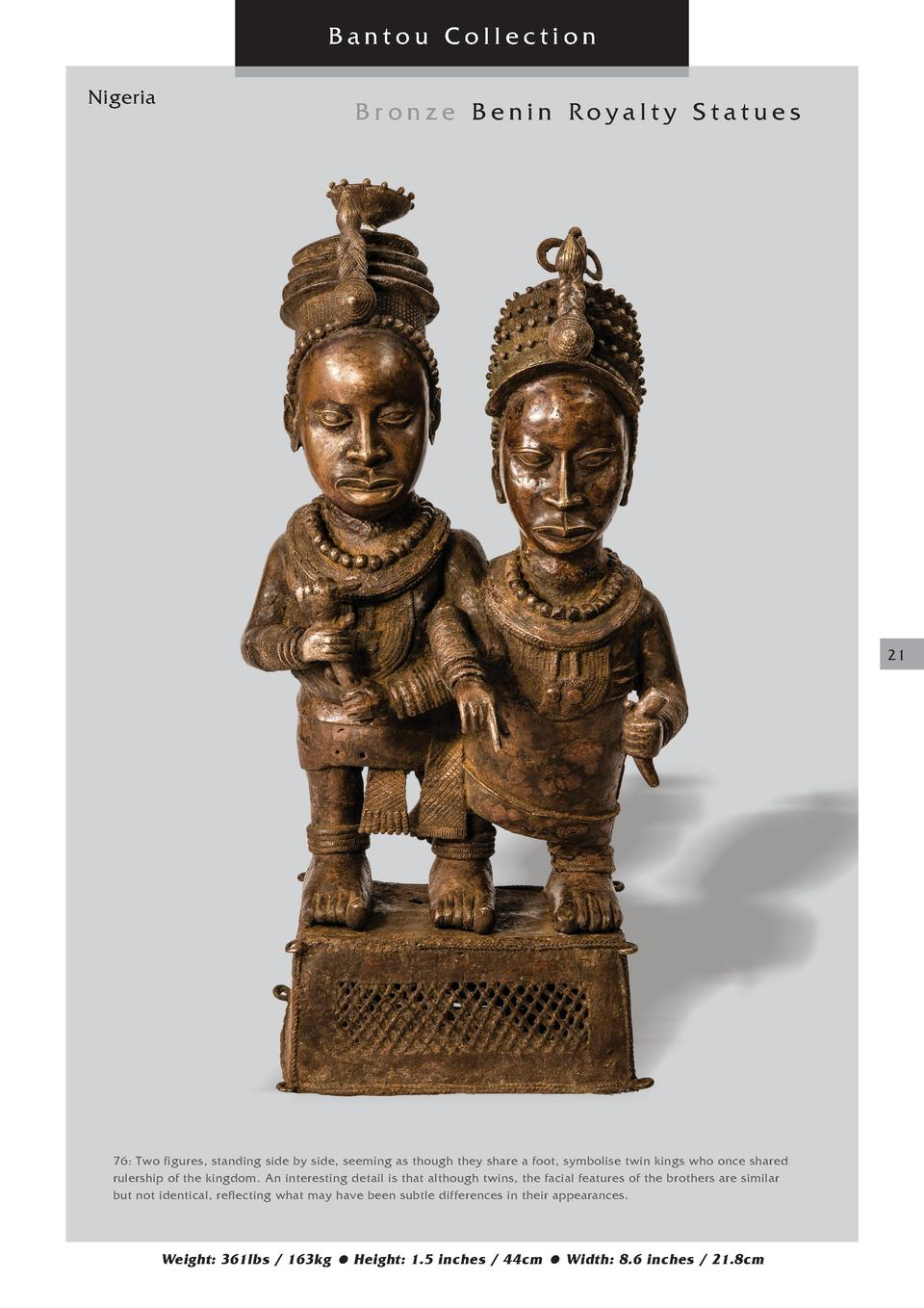 Bantou Collection Nigeria  Bronze Benin Royalty Statues  21  76  Two figures, standing side by side, seeming as though the...