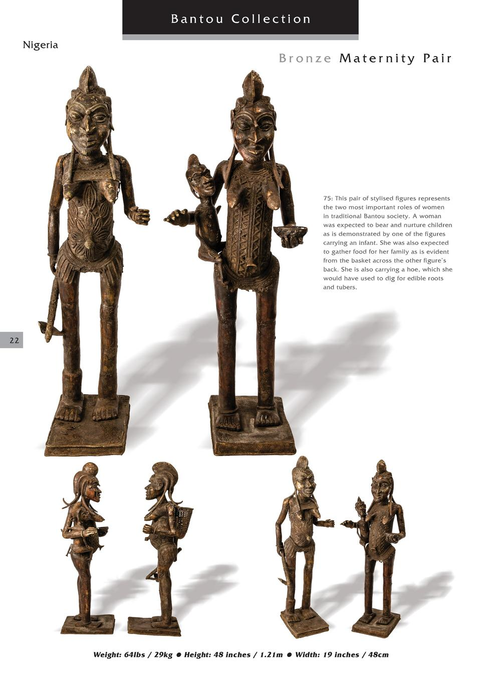 Bantou Collection Nigeria  Bronze Maternity Pair  75  This pair of stylised figures represents the two most important role...