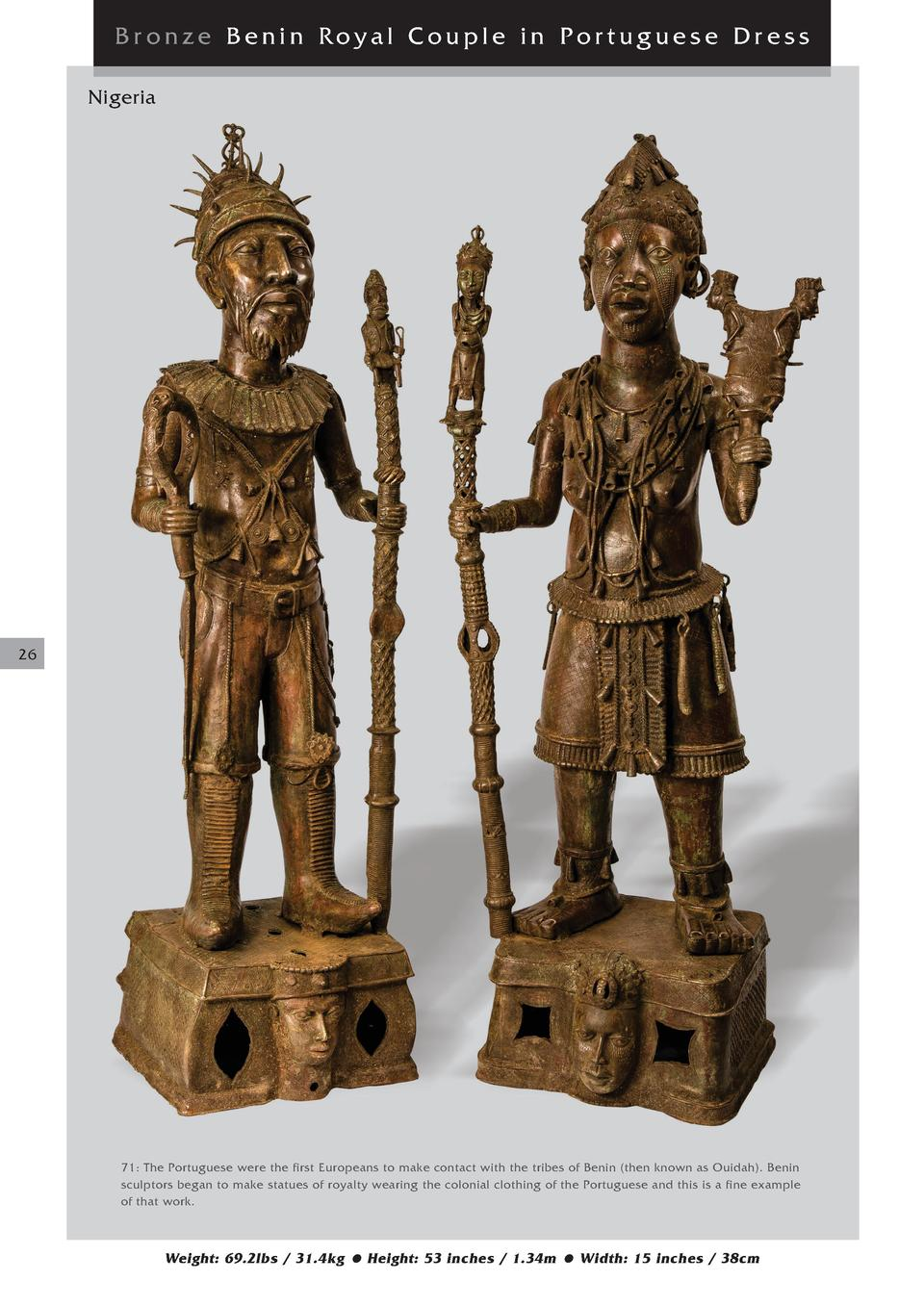 Bronze Benin Royal Couple in Portuguese Dress Nigeria  26  71  The Portuguese were the first Europeans to make contact wit...