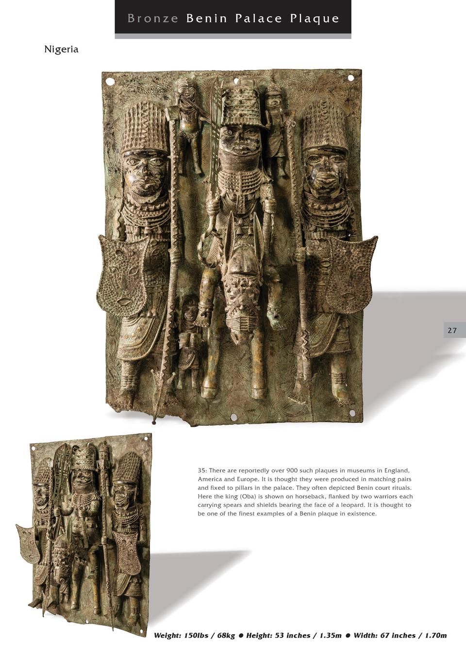 Bronze Benin Palace Plaque Nigeria  27  35  There are reportedly over 900 such plaques in museums in England, America and ...