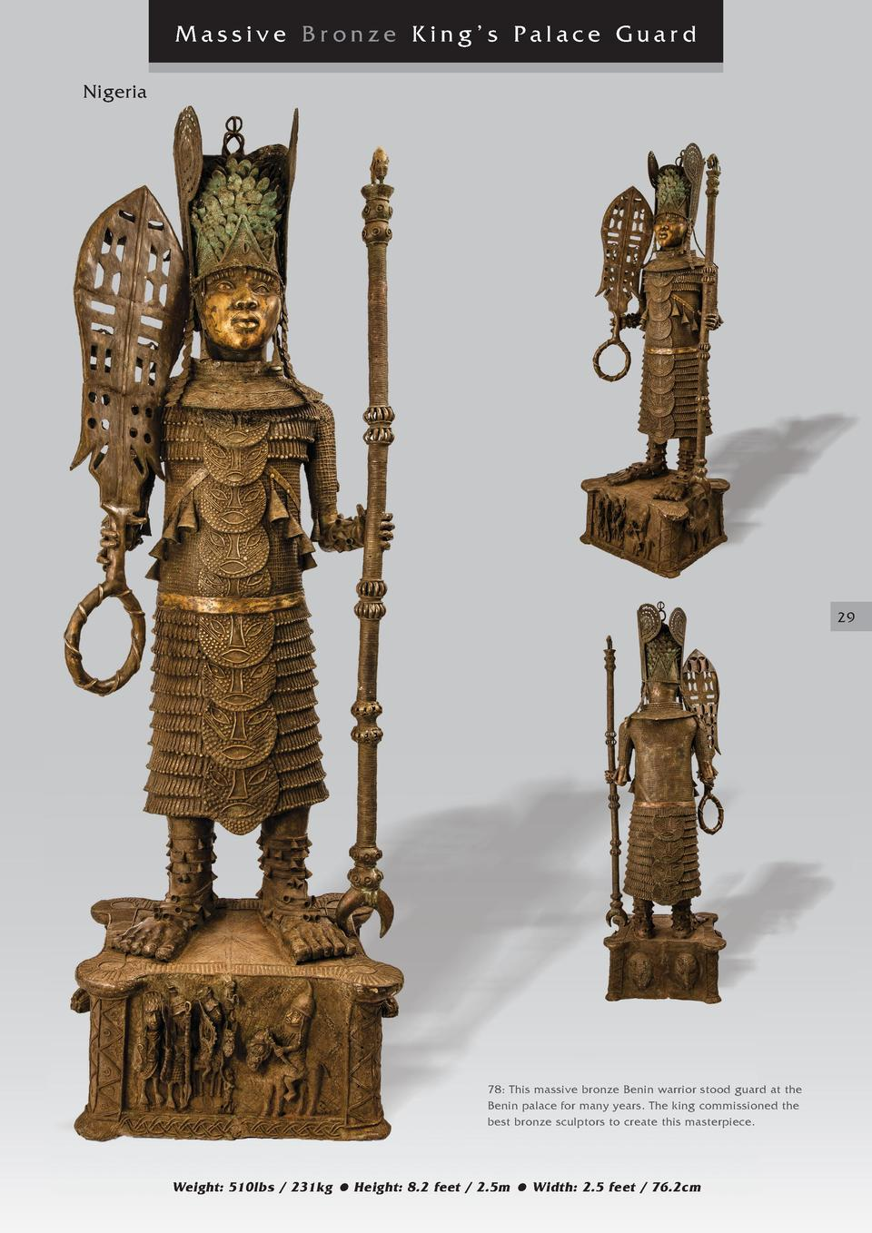 Massive Bronze King   s Palace Guard Nigeria  29  78  This massive bronze Benin warrior stood guard at the Benin palace fo...