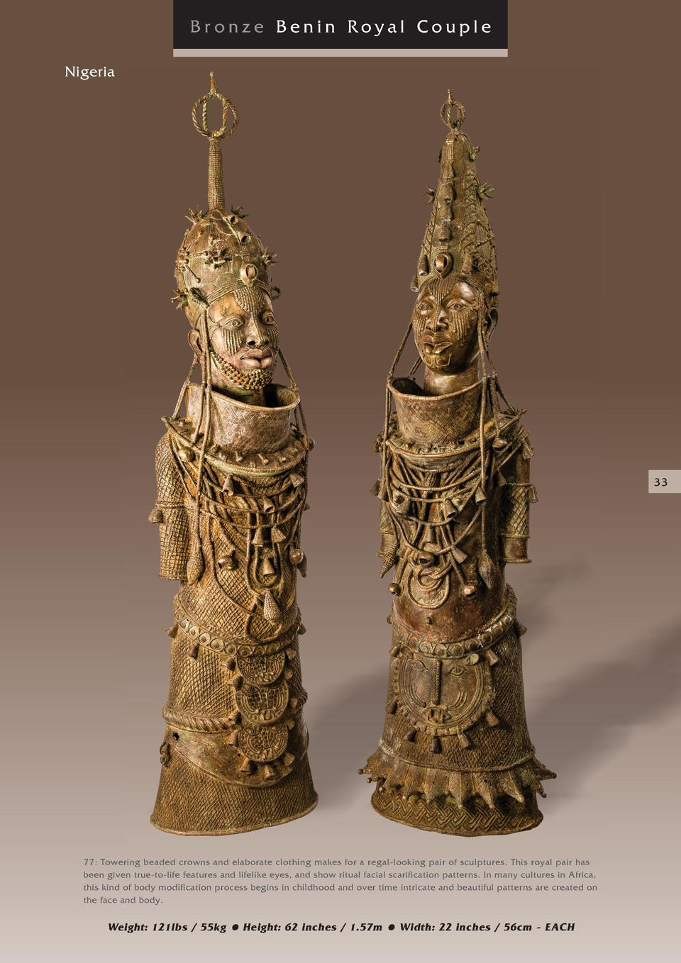 Bronze Benin Royal Couple Nigeria  33  77  Towering beaded crowns and elaborate clothing makes for a regal-looking pair of...