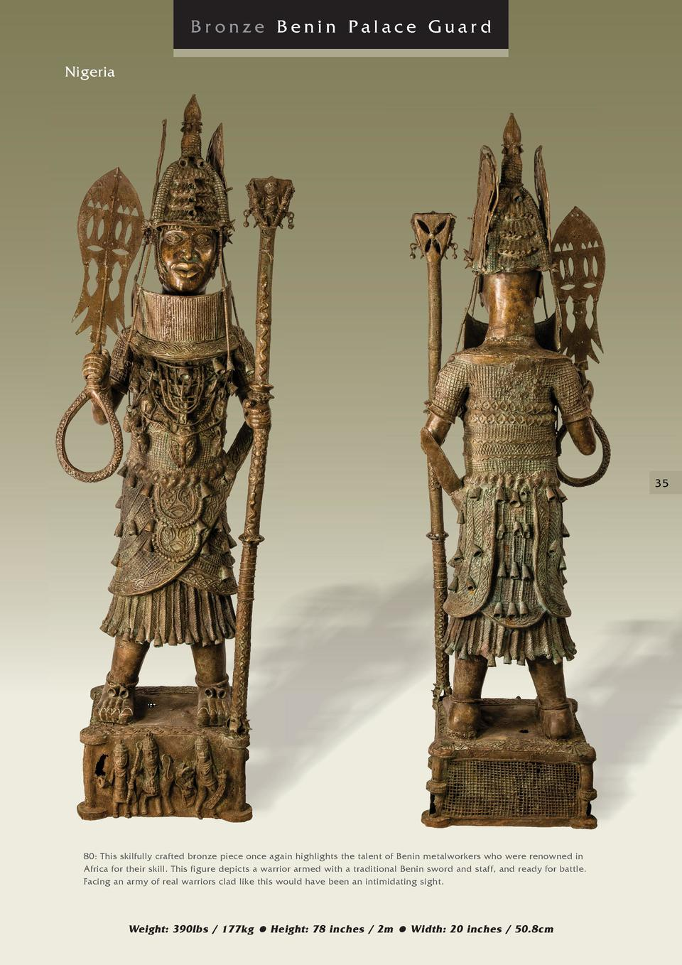 Bronze Benin Palace Guard Nigeria  35  80  This skilfully crafted bronze piece once again highlights the talent of Benin m...