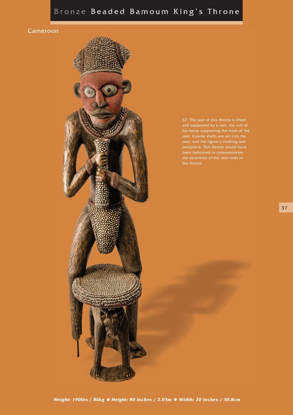 Bronze Beaded Bamoum King   s Throne Cameroon  67  The seat of this throne is lifted and supported by a ram, the curl of h...
