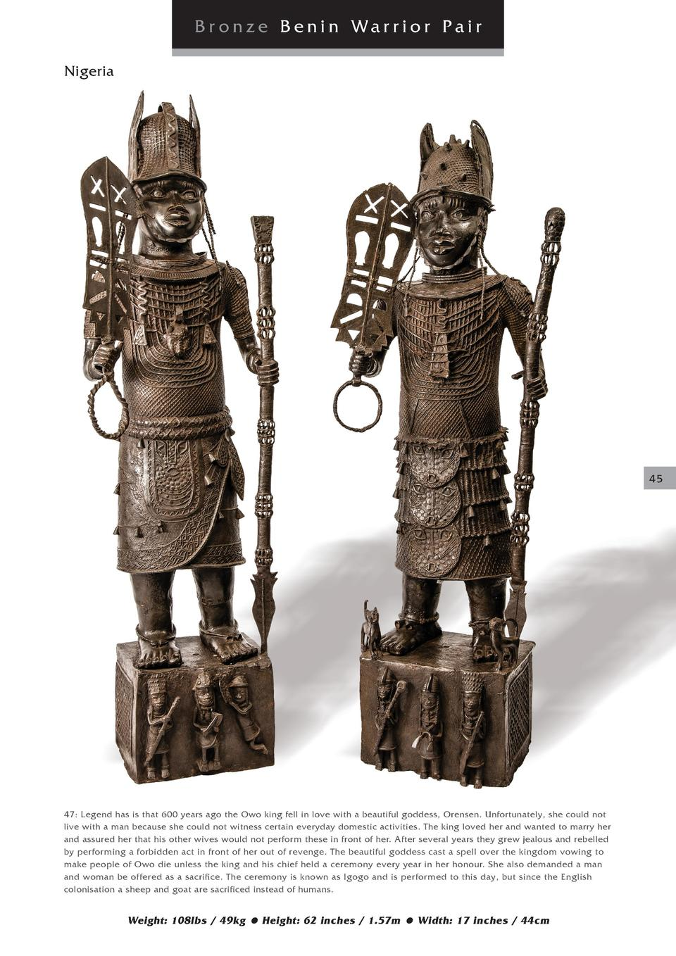 Br onze Benin Warrior Pair Nigeria  45  47  Legend has is that 600 years ago the Owo king fell in love with a beautiful go...
