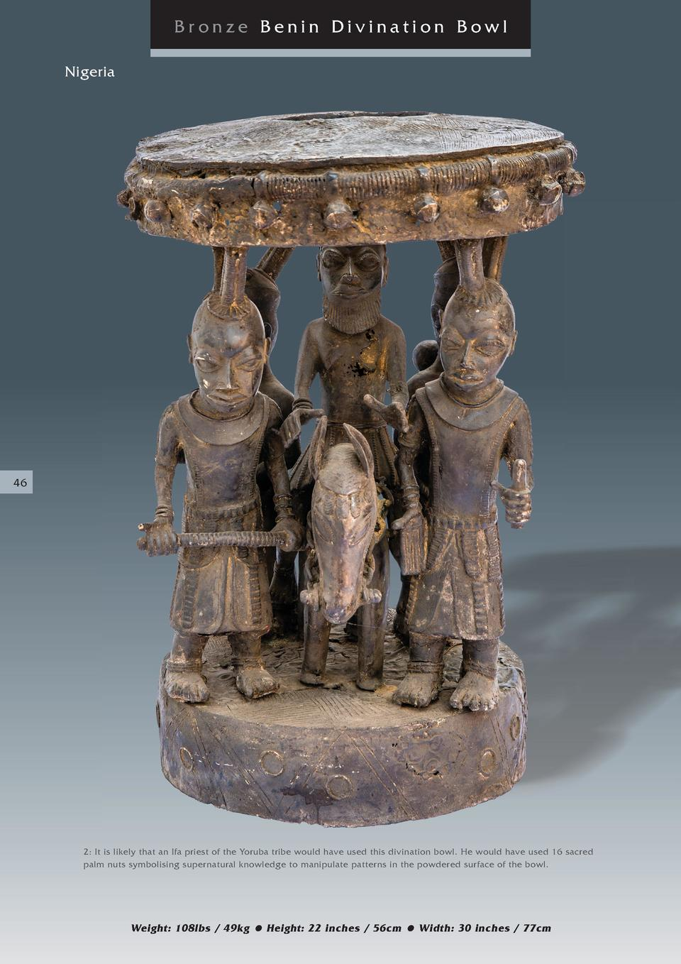 Bronze Benin Divination Bowl Nigeria  46  2  It is likely that an Ifa priest of the Yoruba tribe would have used this divi...