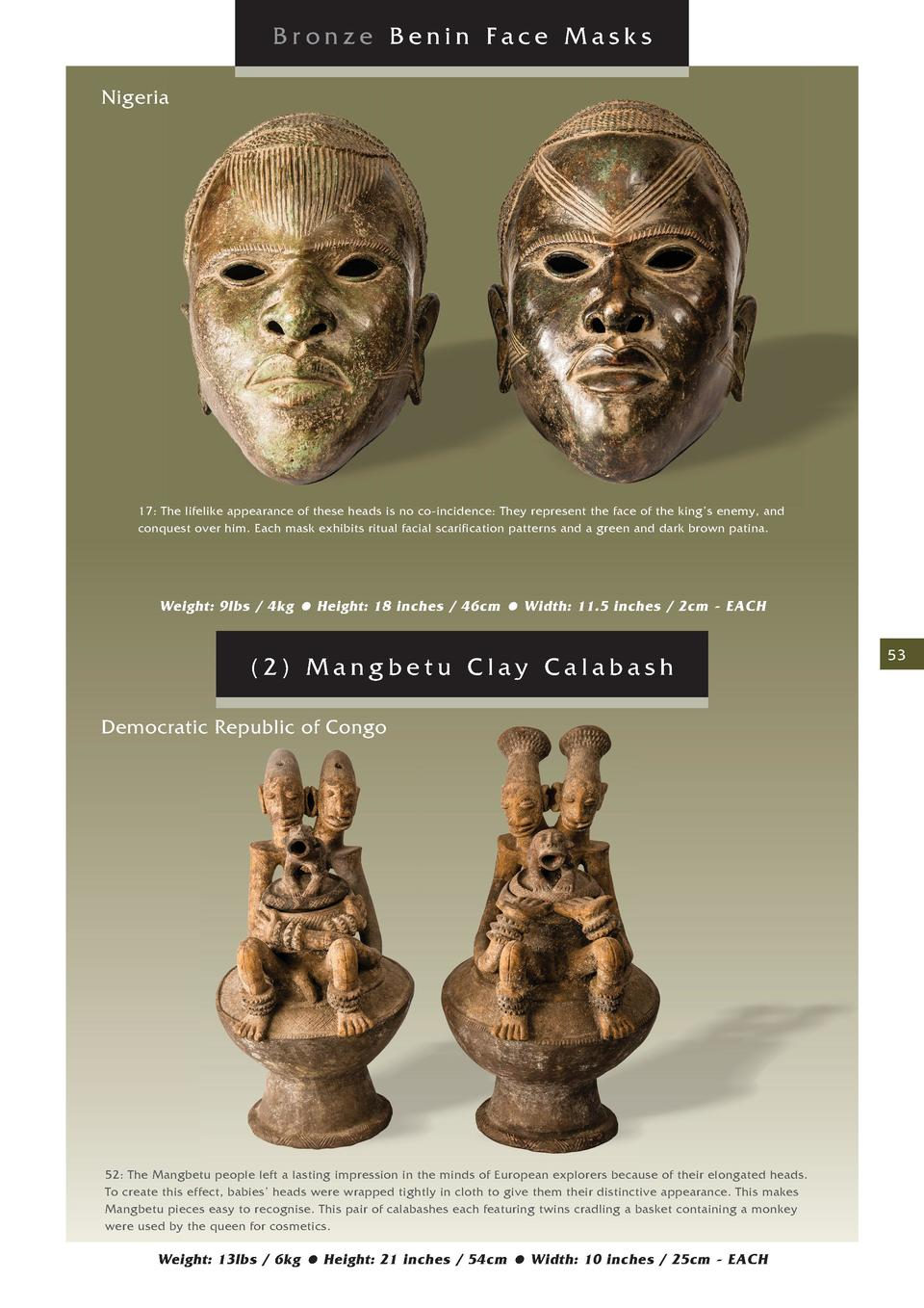 Bronze Benin Face Masks Nigeria  17  The lifelike appearance of these heads is no co-incidence  They represent the face of...