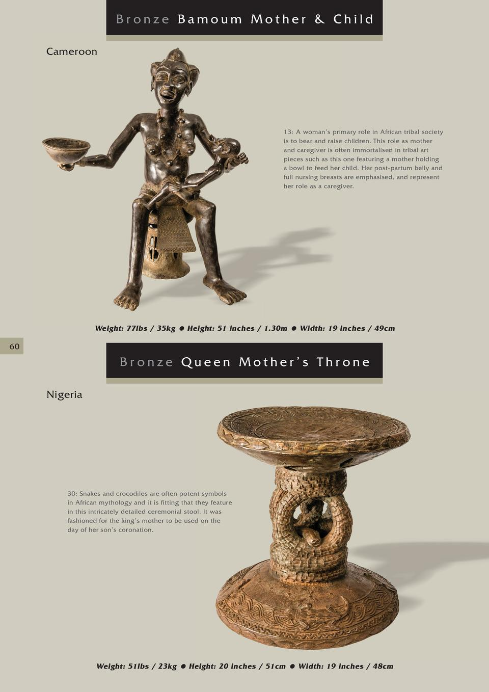 Bronze Bamoum Mother   Child Cameroon  13  A woman   s primary role in African tribal society is to bear and raise childre...