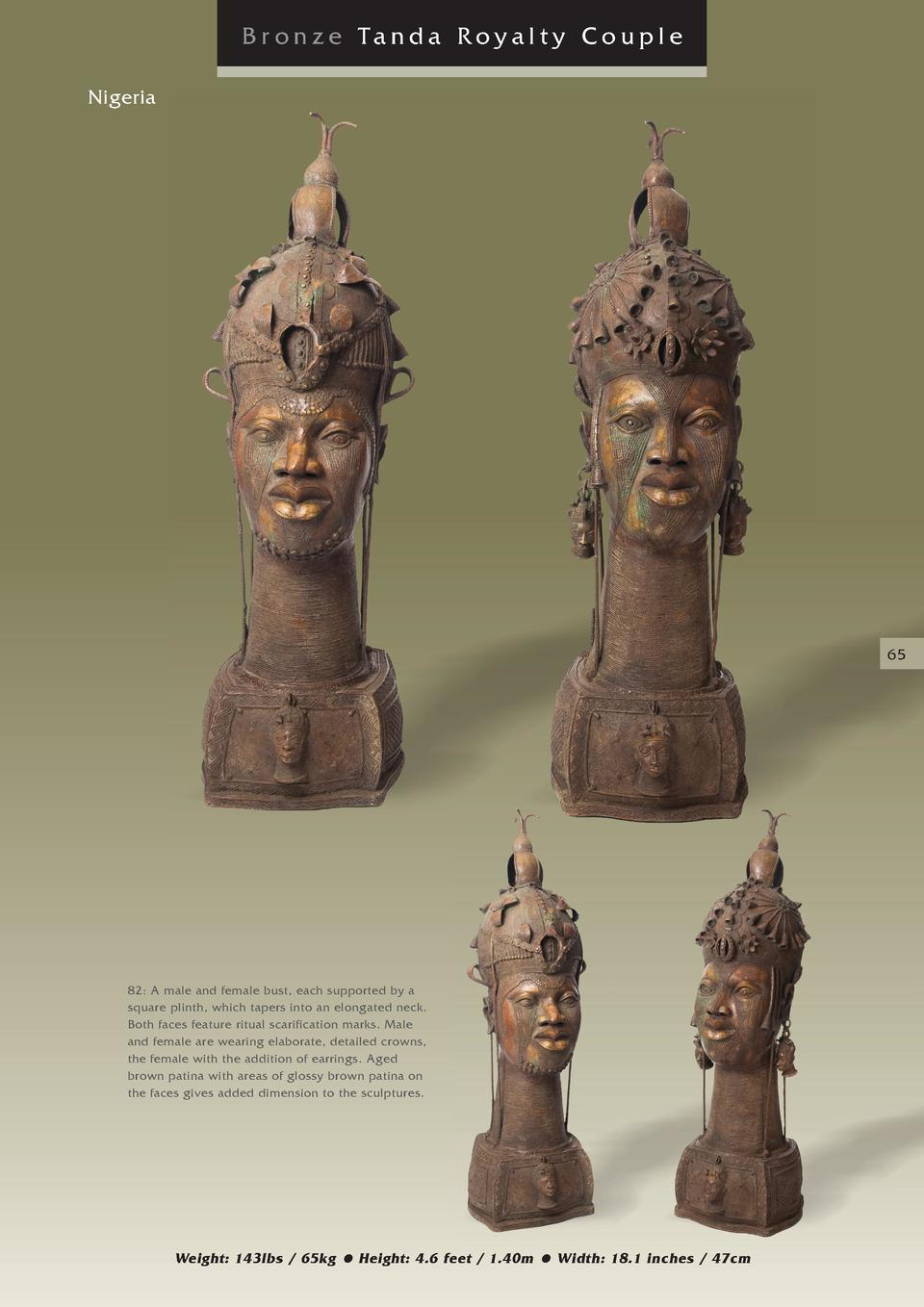 Br onze Tanda Royalty Couple Nigeria  65  82  A male and female bust, each supported by a square plinth, which tapers into...