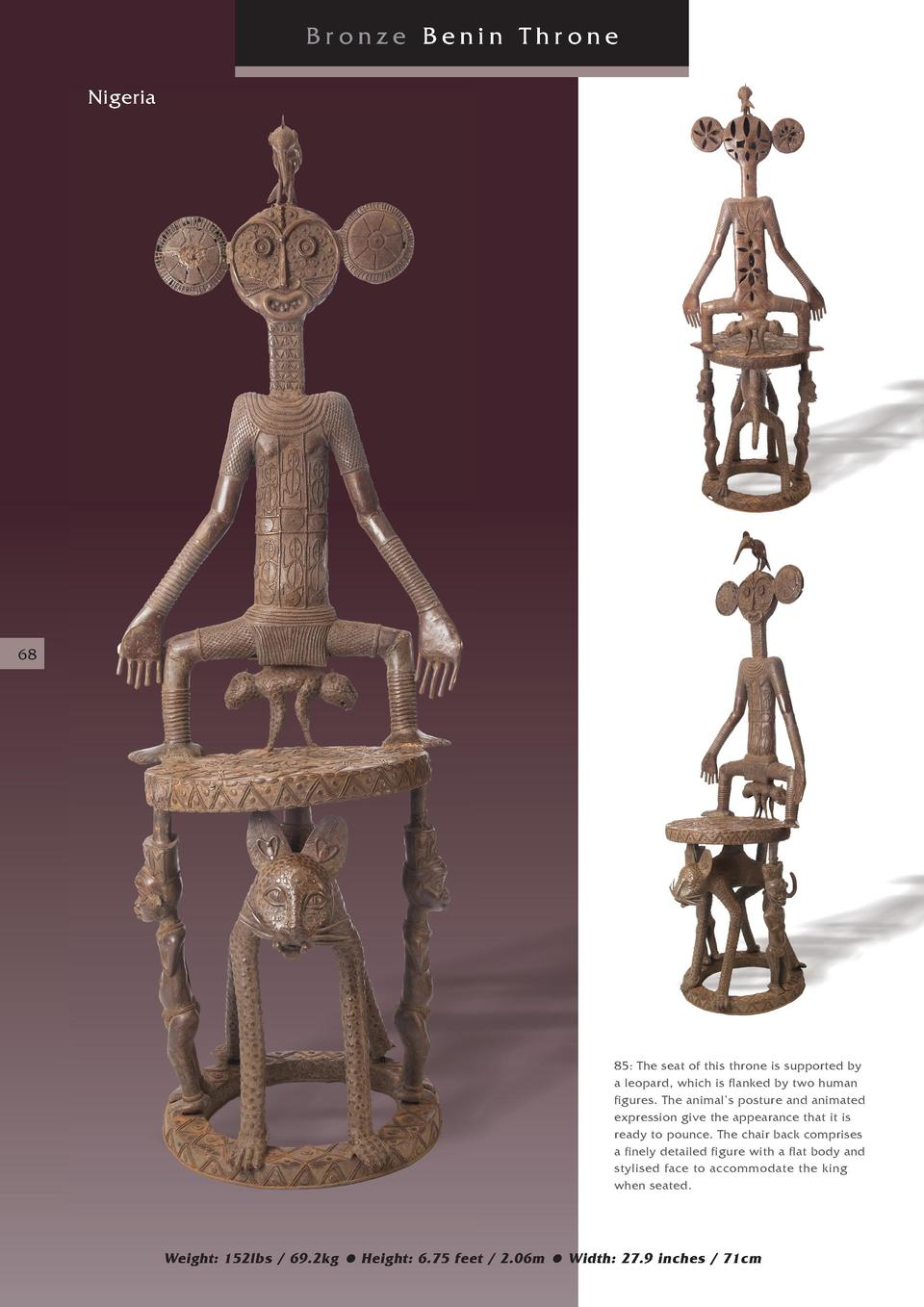 Bronze Benin Throne Nigeria  68  85  The seat of this throne is supported by a leopard, which is flanked by two human figu...