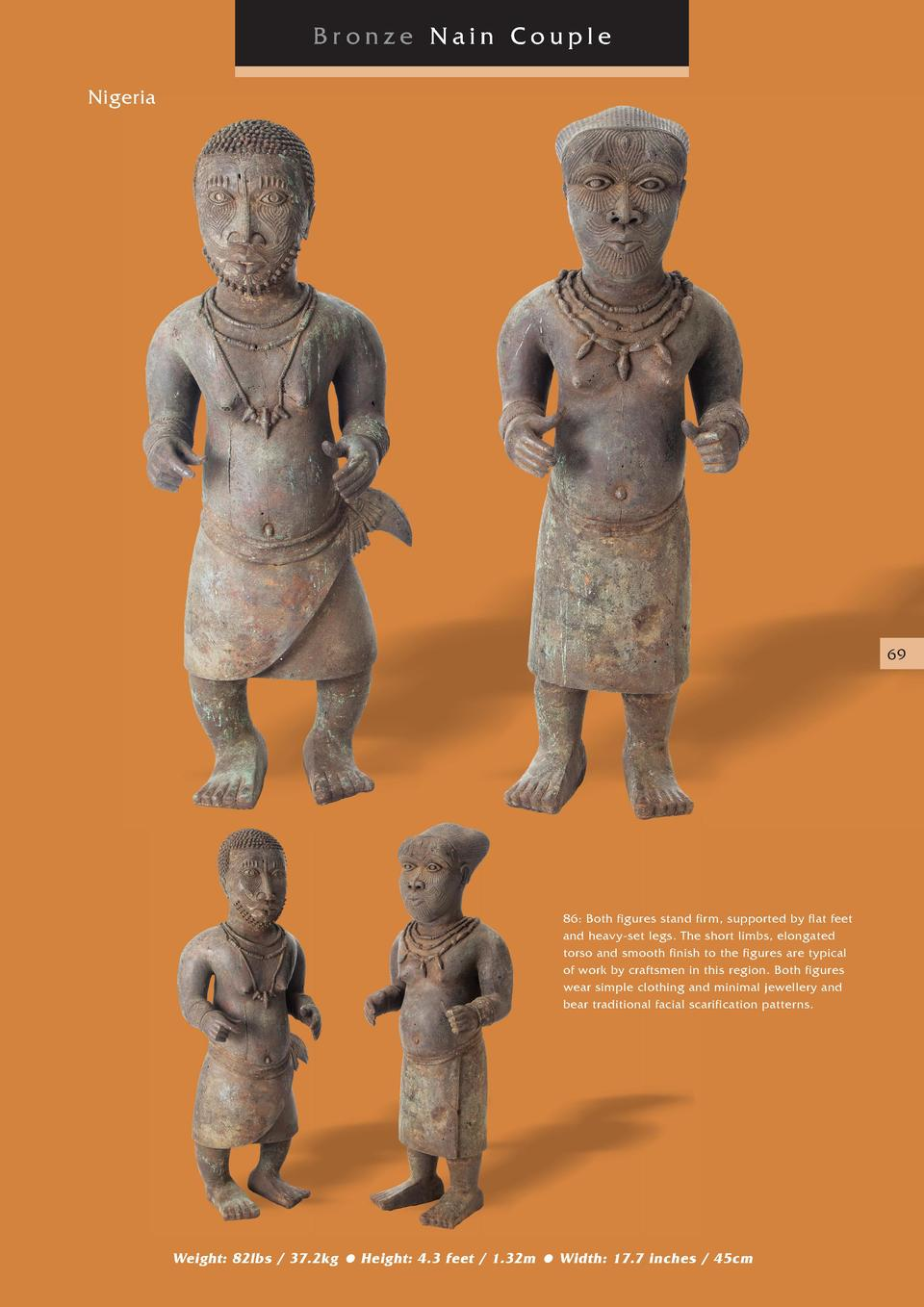 Bronze Nain Couple Nigeria  69  86  Both figures stand firm, supported by flat feet and heavy-set legs. The short limbs, e...