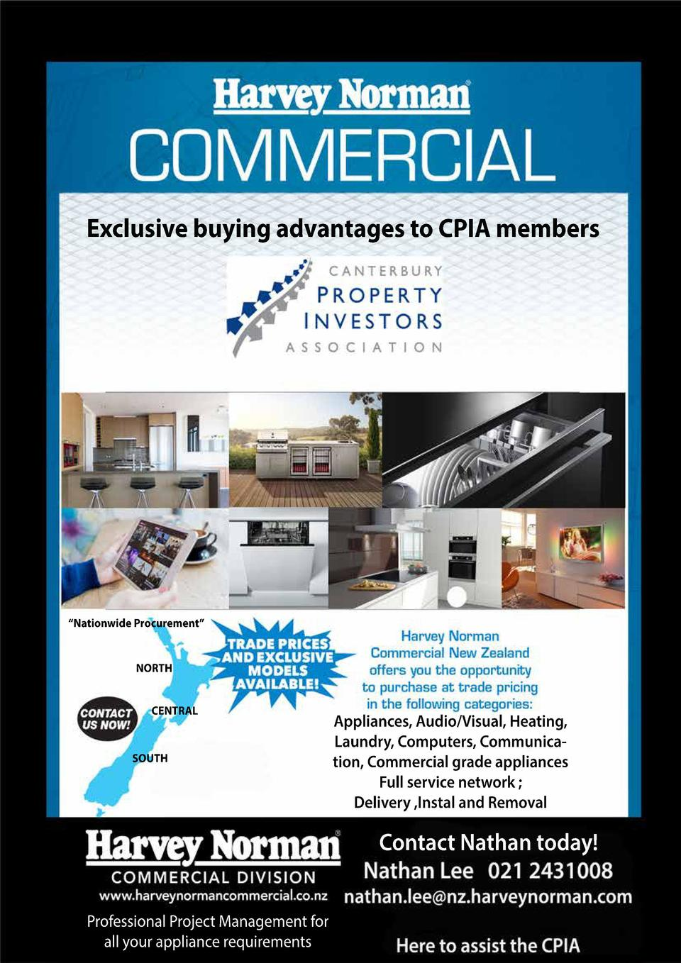 Exclusive buying advantages to CPIA members     Nationwide Procurement    NORTH CENTRAL  SOUTH  Appliances, Audio Visual, ...