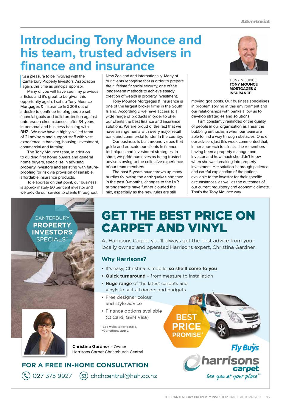 Advertorial  Introducing Tony Mounce and his team, trusted advisers in finance and insurance  I  t   s a pleasure to be in...