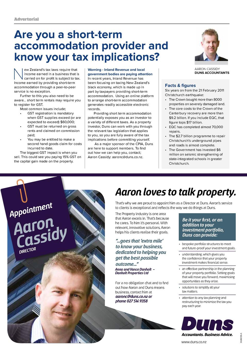 Advertorial  Are you a short-term accommodation provider and know your tax implications   N  ew Zealand   s tax laws requi...