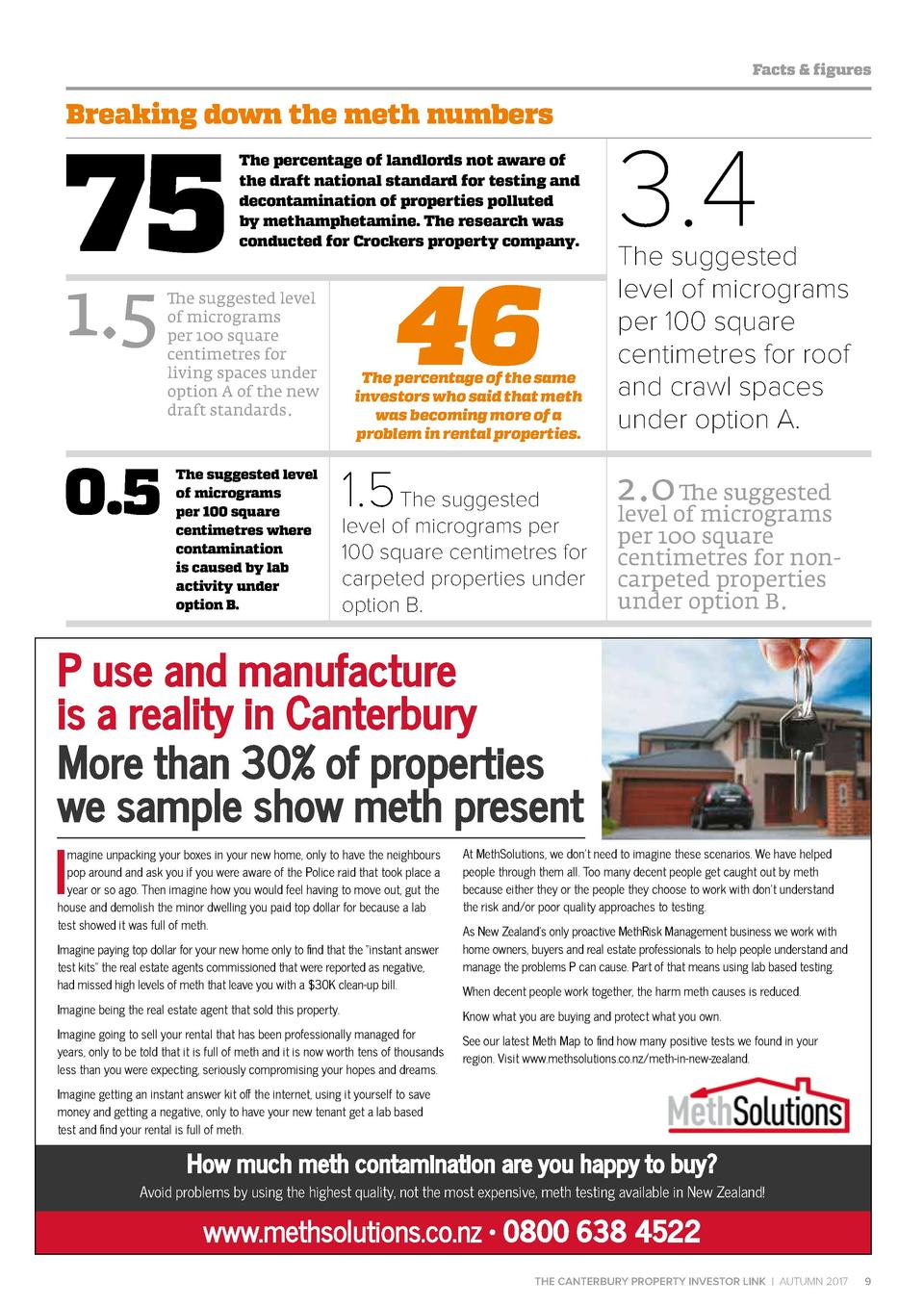 Facts   figures  Breaking down the meth numbers  75 1.5  0.5  The percentage of landlords not aware of the draft national ...