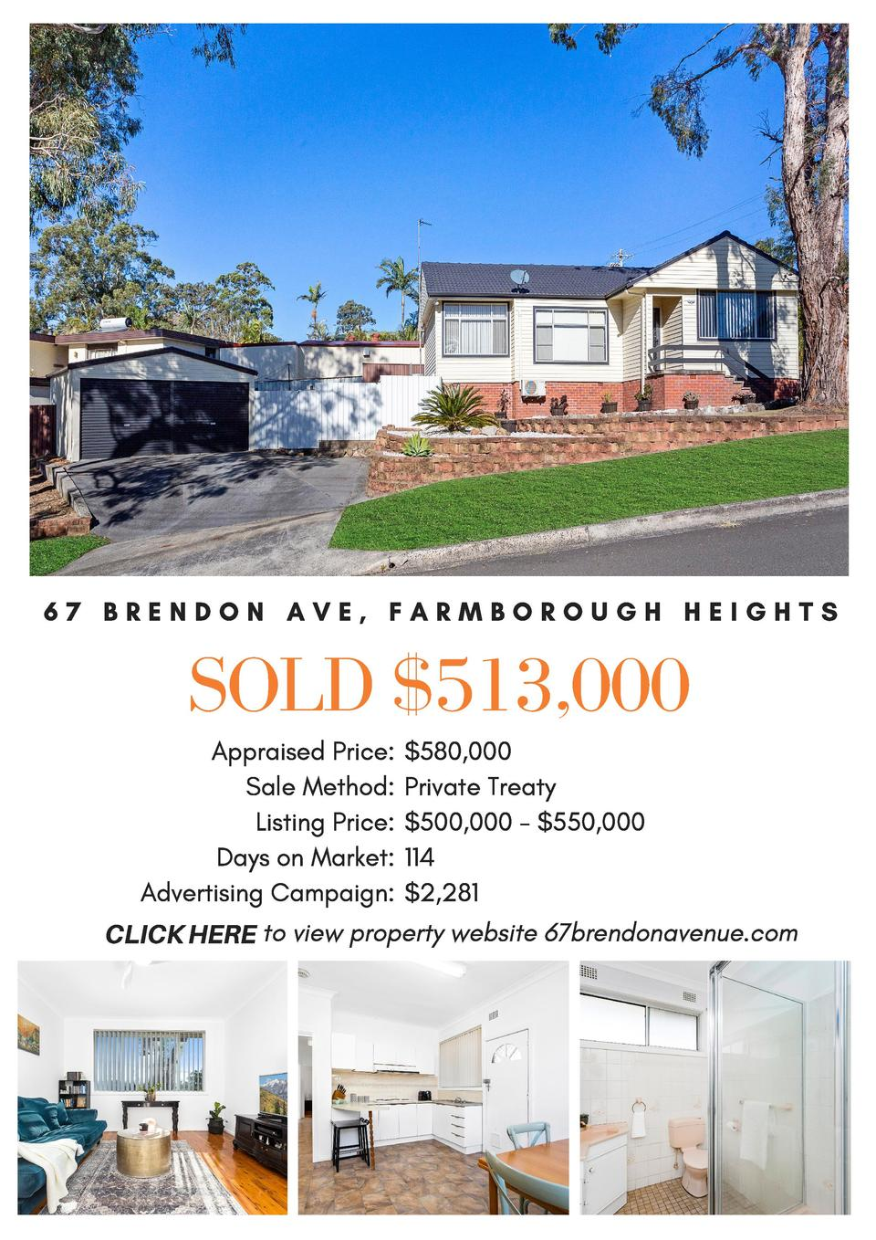 67 BRENDON AVE, FARMBOROUGH HEIGHTS  SOLD  513,000 Appraised Price   580,000 Sale Method  Private Treaty   Listing Price  ...
