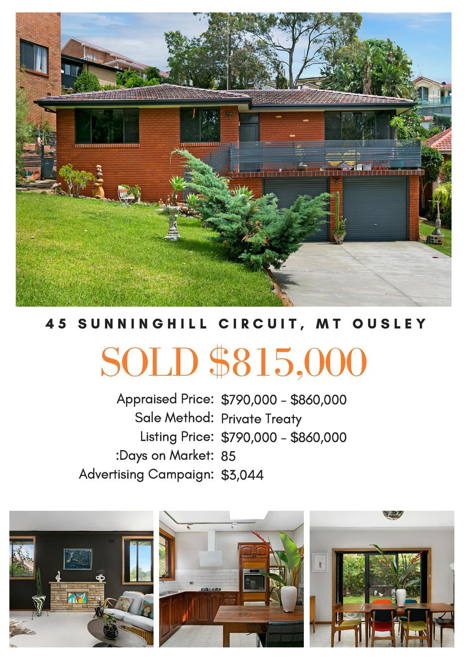 45 SUNNINGHILL CIRCUIT, MT OUSLEY  SOLD  815,000 Appraised Price   790,000 -  860,000 Sale Method  Private Treaty Listing ...
