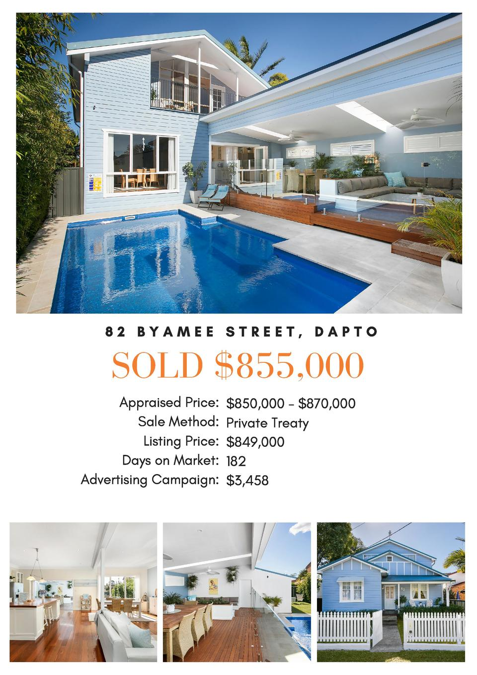 82 BYAMEE STREET, DAPTO  SOLD  855,000 Appraised Price   850,000 -  870,000 Sale Method  Private Treaty Listing Price   84...