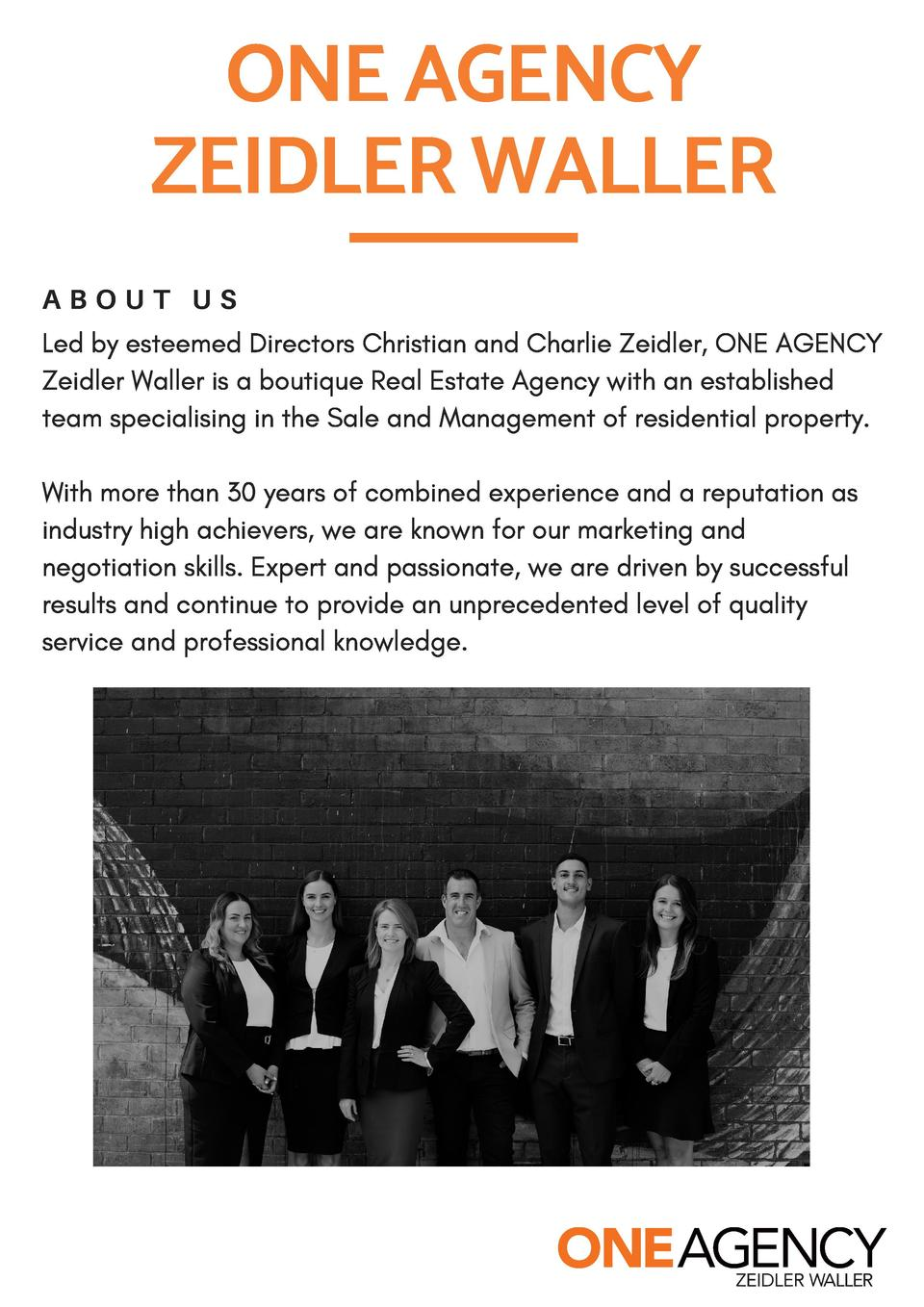 ONE AGENCY ZEIDLER WALLER ABOUT US Led by esteemed Directors Christian and Charlie Zeidler, ONE AGENCY Zeidler Waller is a...