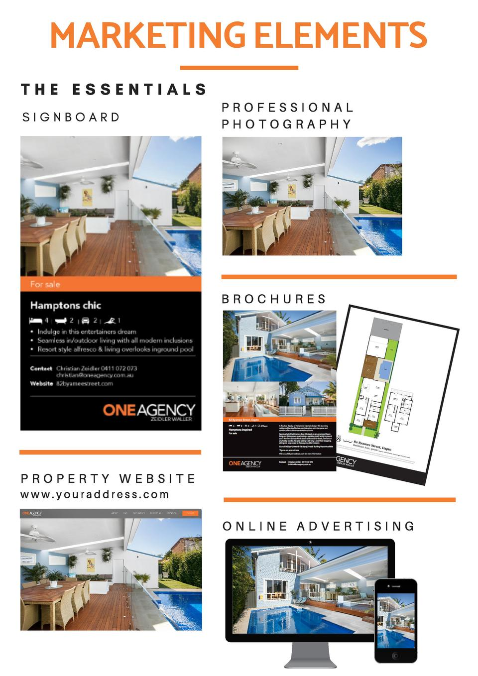 MARKETING ELEMENTS THE ESSENTIALS S I G N B O A R D  PROFESSIONAL PHOTOGRAPHY  BROCHURES  PROPERTY WEBSITE www.youraddress...