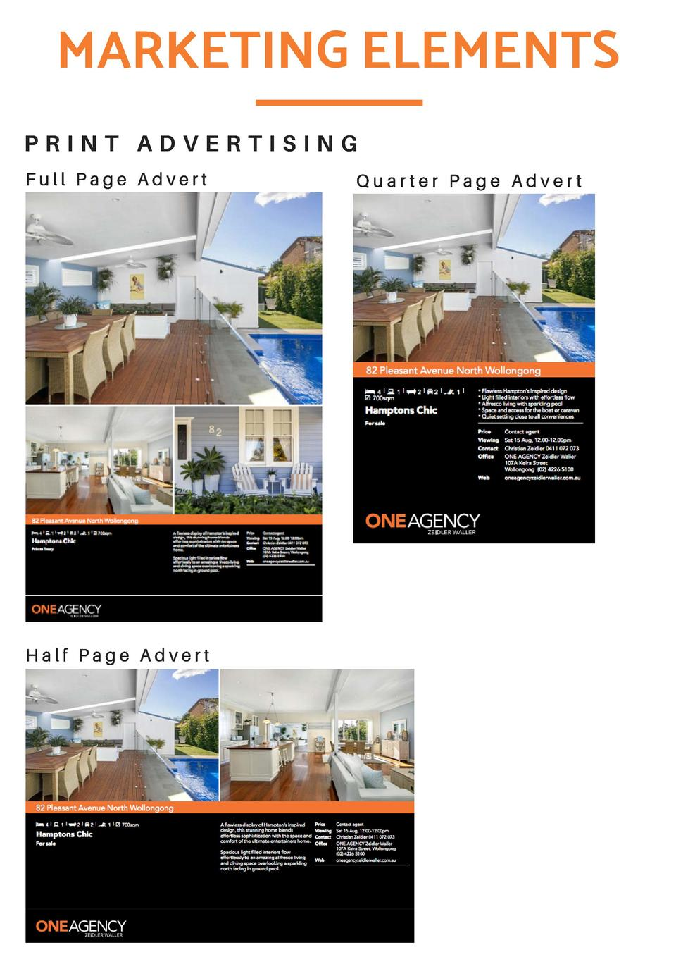 MARKETING ELEMENTS PRINT ADVERTISING Full Page Advert  Half Page Advert  Quarter Page Advert