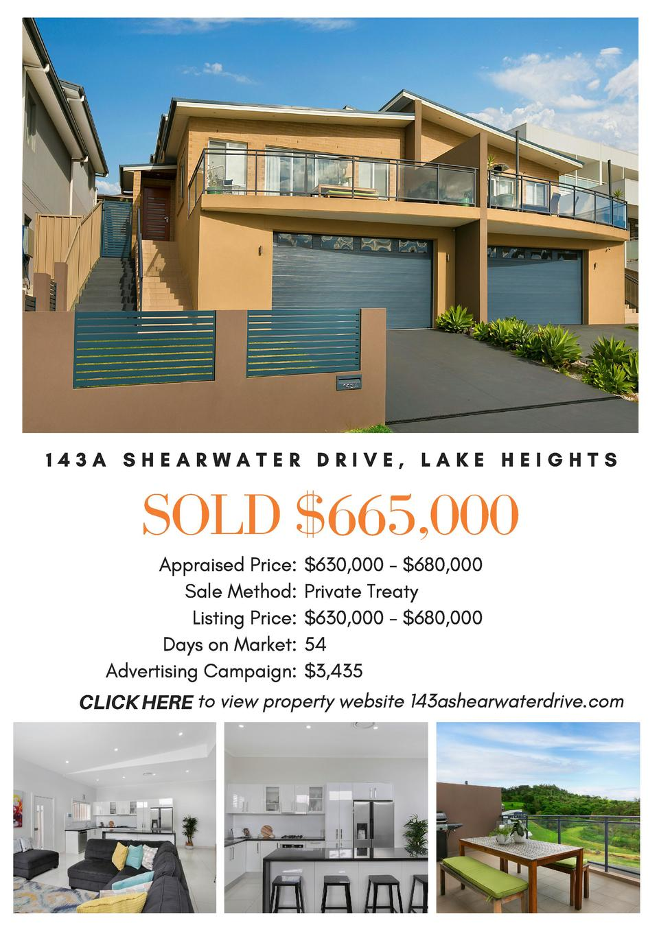 143A SHEARWATER DRIVE, LAKE HEIGHTS  SOLD  665,000 Appraised Price   630,000 -  680,000 Sale Method  Private Treaty   List...