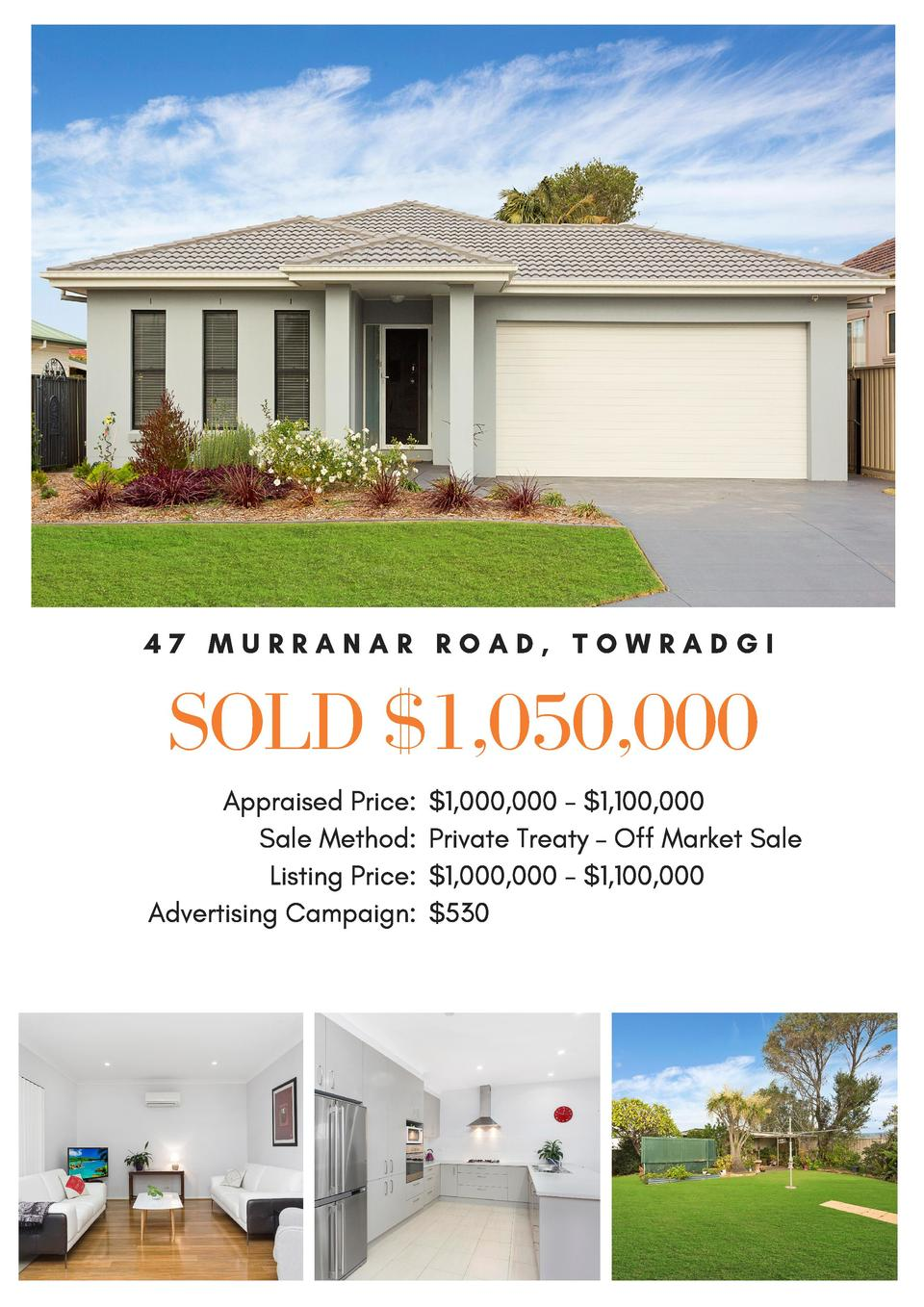 47 MURRANAR ROAD, TOWRADGI  SOLD  1,050,000 Appraised Price   1,000,000 -  1,100,000 Sale Method  Private Treaty     Off M...