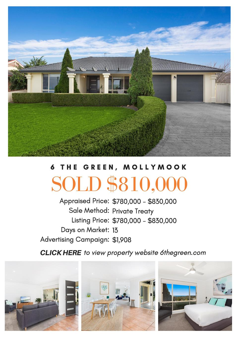 6 THE GREEN, MOLLYMOOK  SOLD  810,000 Appraised Price   780,000 -  830,000 Sale Method  Private Treaty    Listing Price   ...