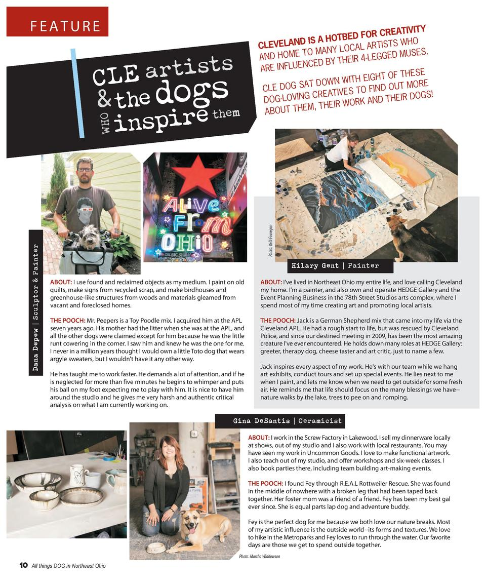 FEATURE  th e r i p ins  Photo  Kelli Finnegan  Dana Depew   Sculptor   Painter  WHO  s t s i t r a CLE   the dogsem  CREA...