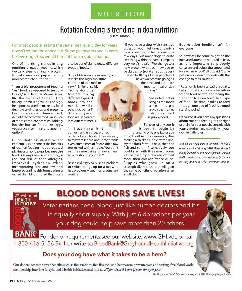 NUTRITION  Rotation feeding is trending in dog nutrition By Jami Kinton  For most people, eating the same meal every day f...