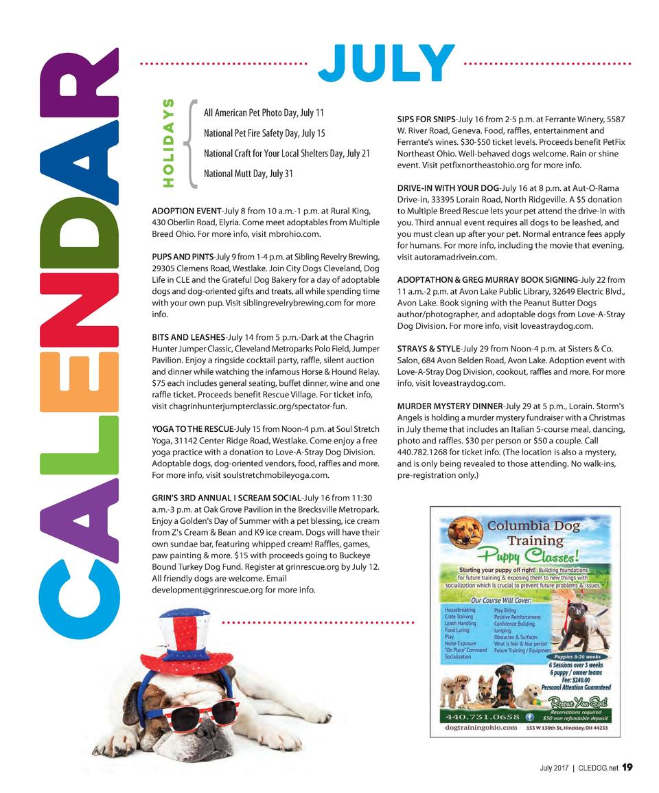 HOLIDA YS  CALENDAR  JuLY All American Pet Photo Day, July 11 National Pet Fire Safety Day, July 15 National Craft for You...