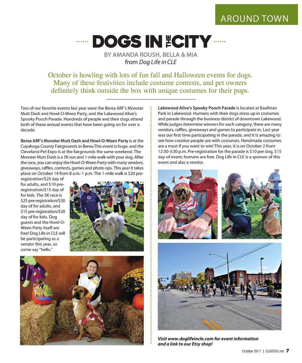 AROUND TOWN  BY AMANDA ROUSH, BELLA   MIA from Dog Life in CLE  October is howling with lots of fun fall and Halloween eve...