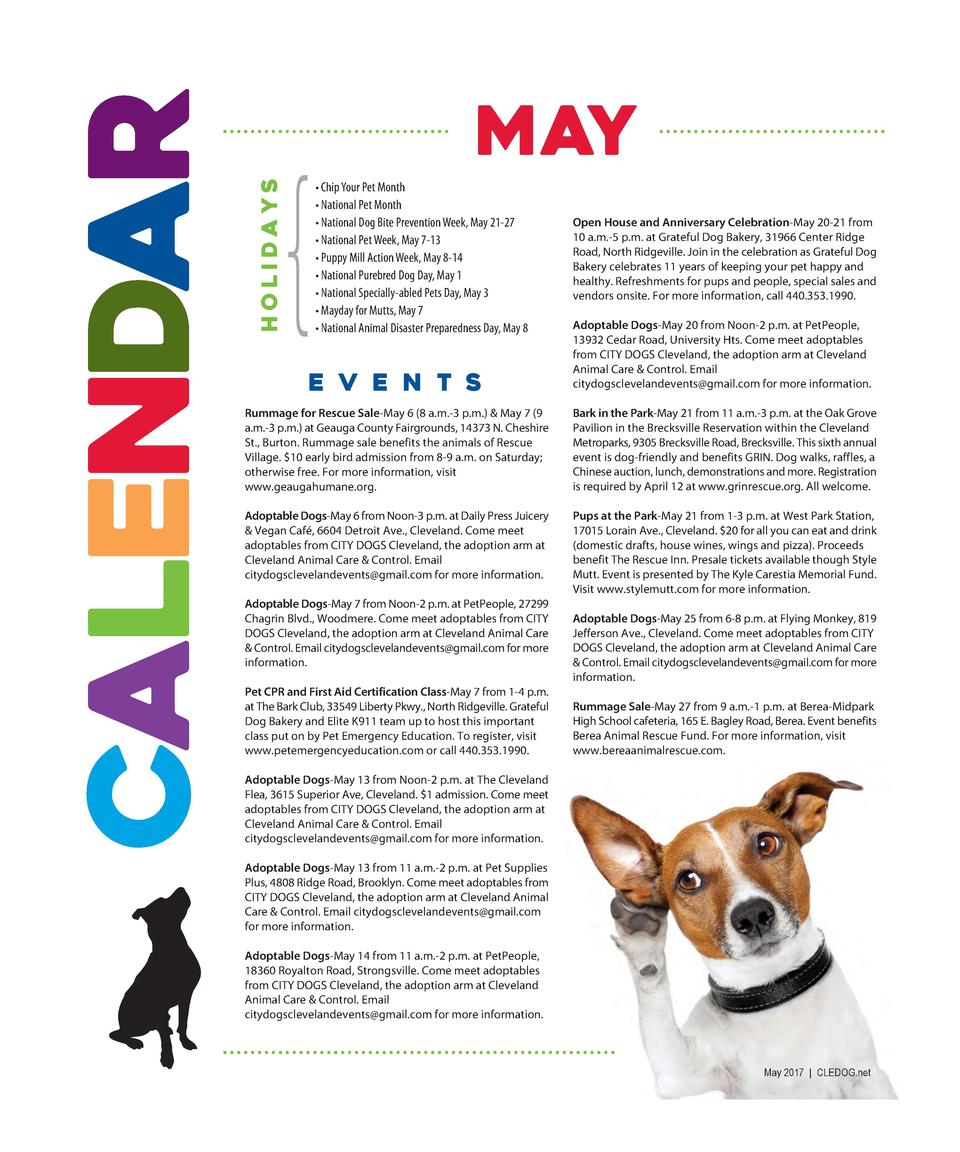 HOLIDA YS  CALENDAR  MAY     Chip Your Pet Month     National Pet Month     National Dog Bite Prevention Week, May 21-27  ...